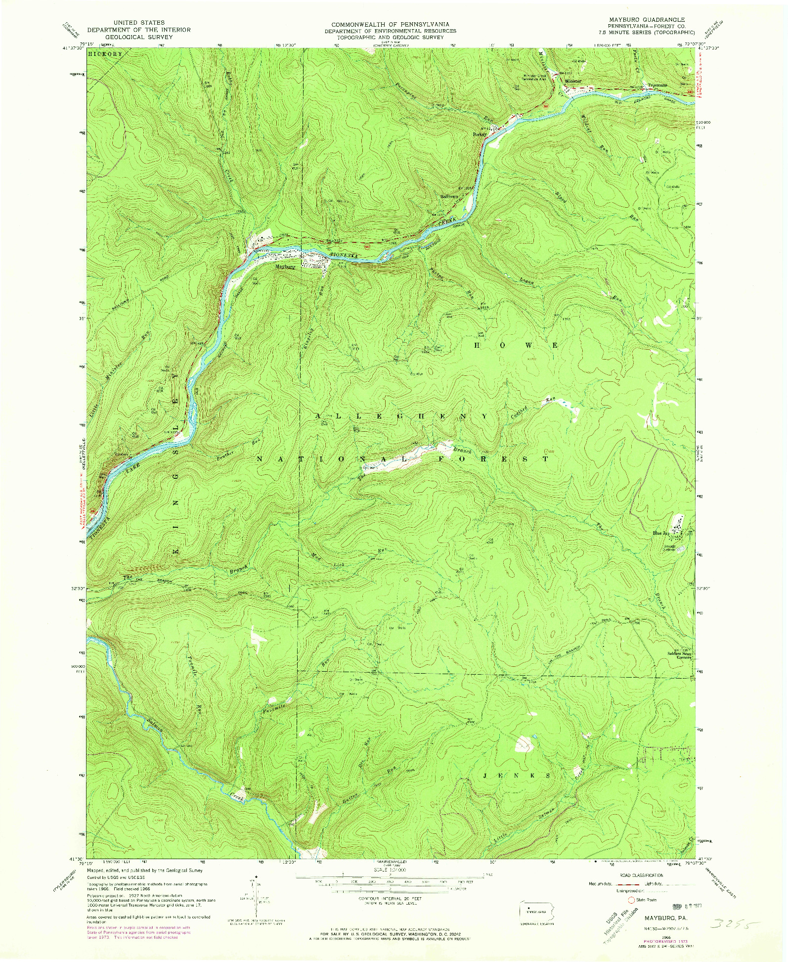 USGS 1:24000-SCALE QUADRANGLE FOR MAYBURG, PA 1966