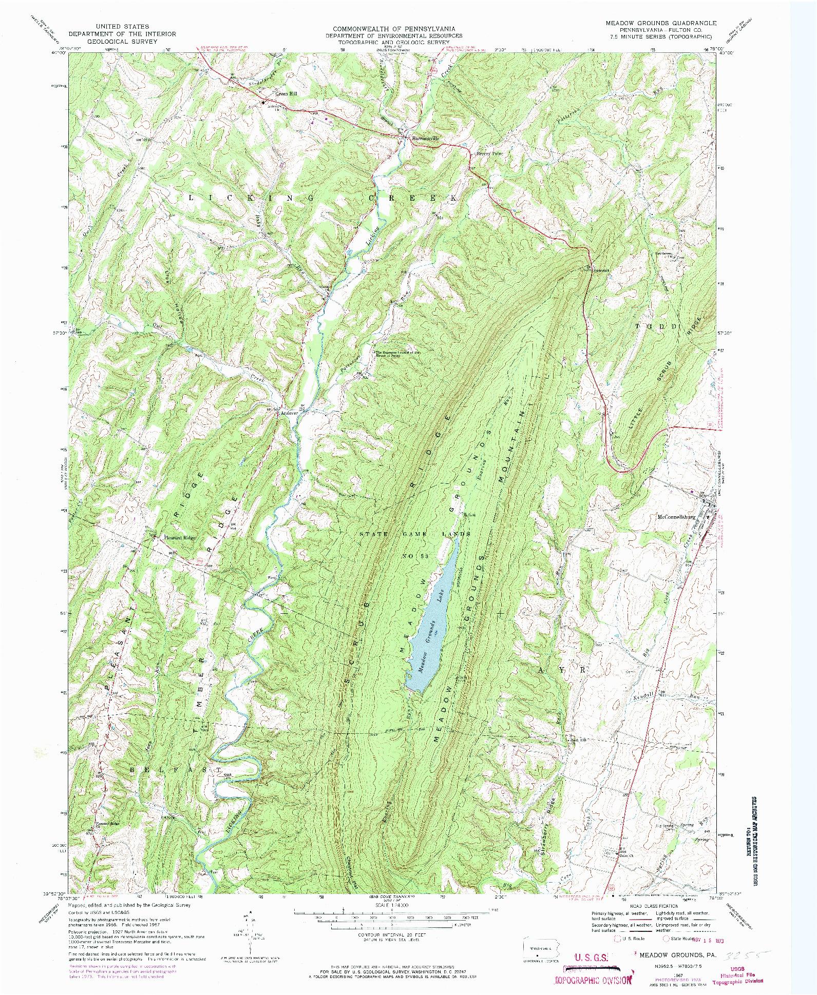 USGS 1:24000-SCALE QUADRANGLE FOR MEADOW GROUNDS, PA 1967