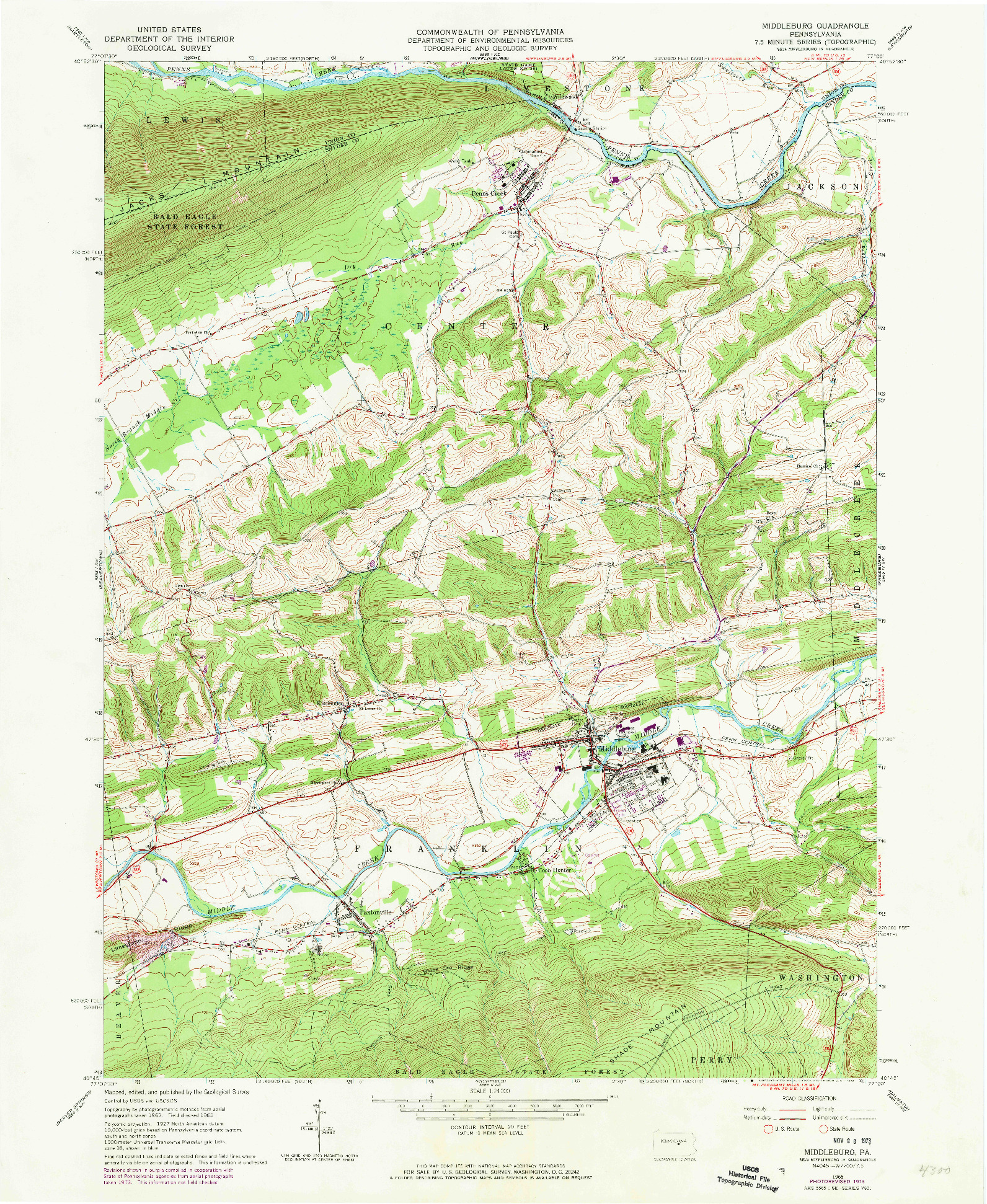 USGS 1:24000-SCALE QUADRANGLE FOR MIDDLEBURG, PA 1965