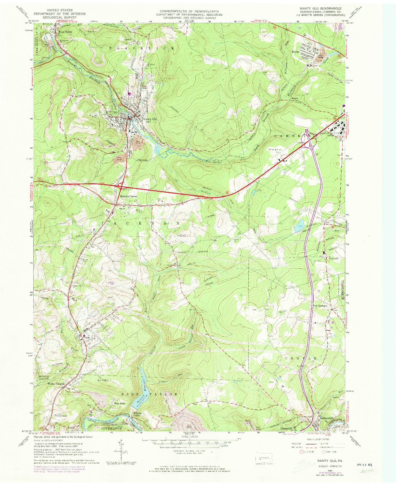USGS 1:24000-SCALE QUADRANGLE FOR NANTY GLO, PA 1964