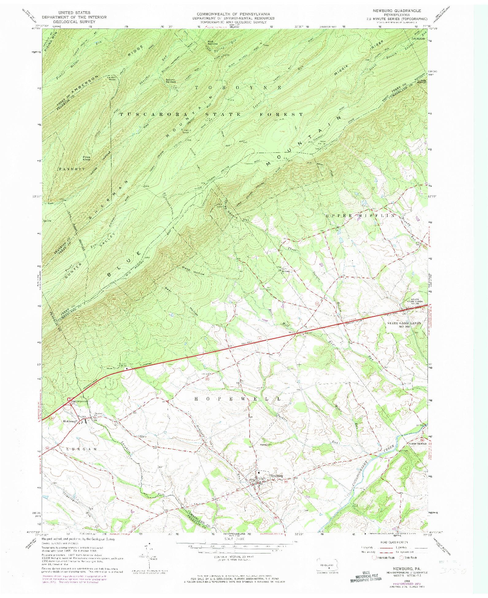 USGS 1:24000-SCALE QUADRANGLE FOR NEWBURG, PA 1966