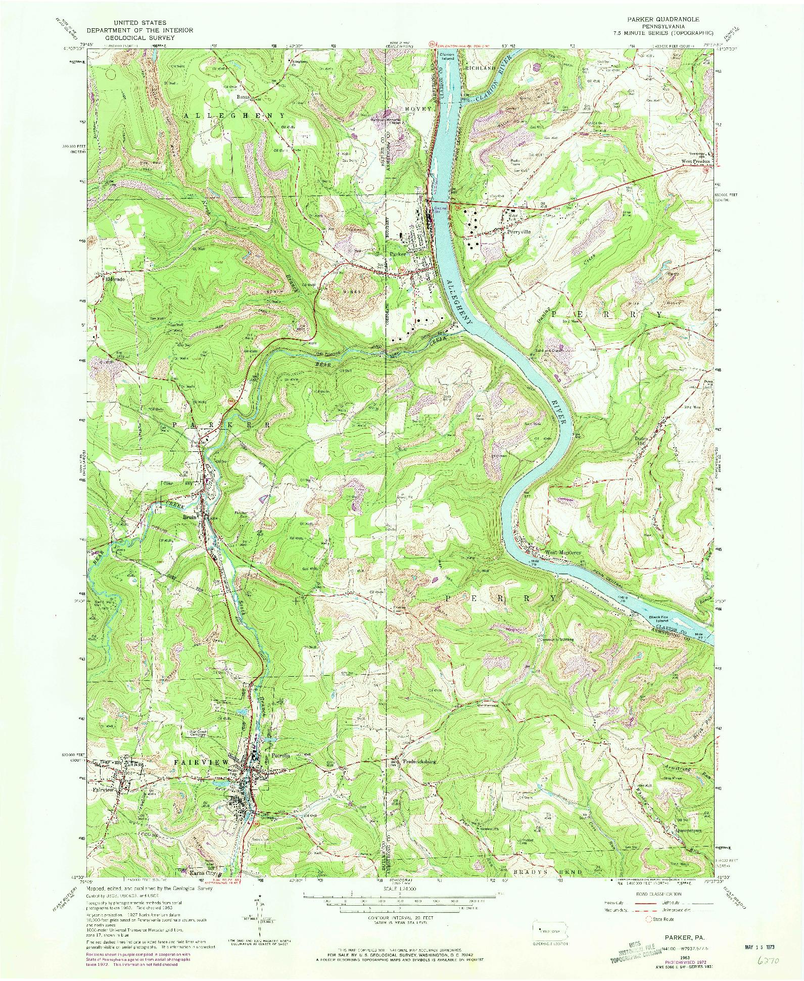 USGS 1:24000-SCALE QUADRANGLE FOR PARKER, PA 1963