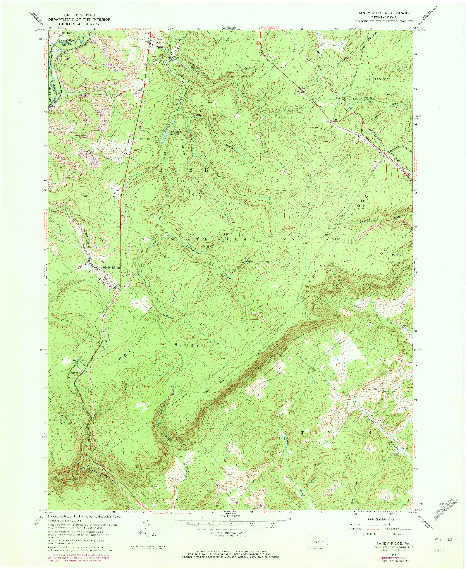 USGS 1:24000-SCALE QUADRANGLE FOR SANDY RIDGE, PA 1958