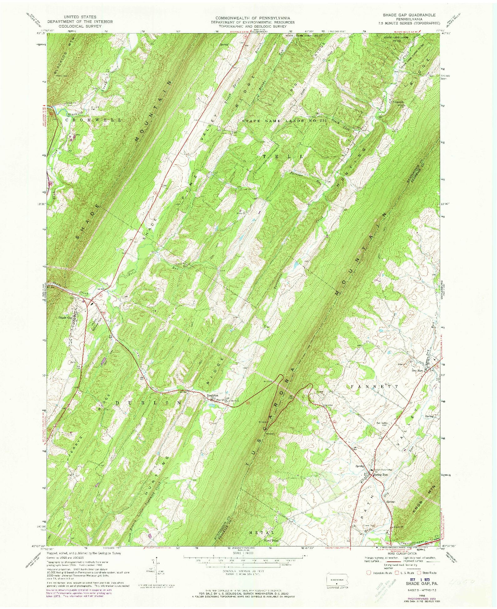 USGS 1:24000-SCALE QUADRANGLE FOR SHADE GAP, PA 1966