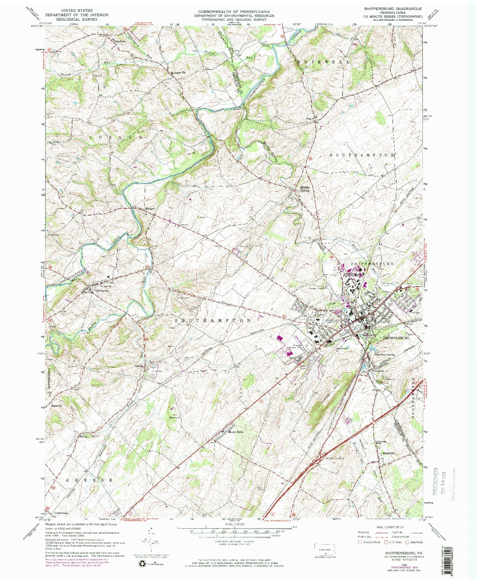 USGS 1:24000-SCALE QUADRANGLE FOR SHIPPENSBURG, PA 1966