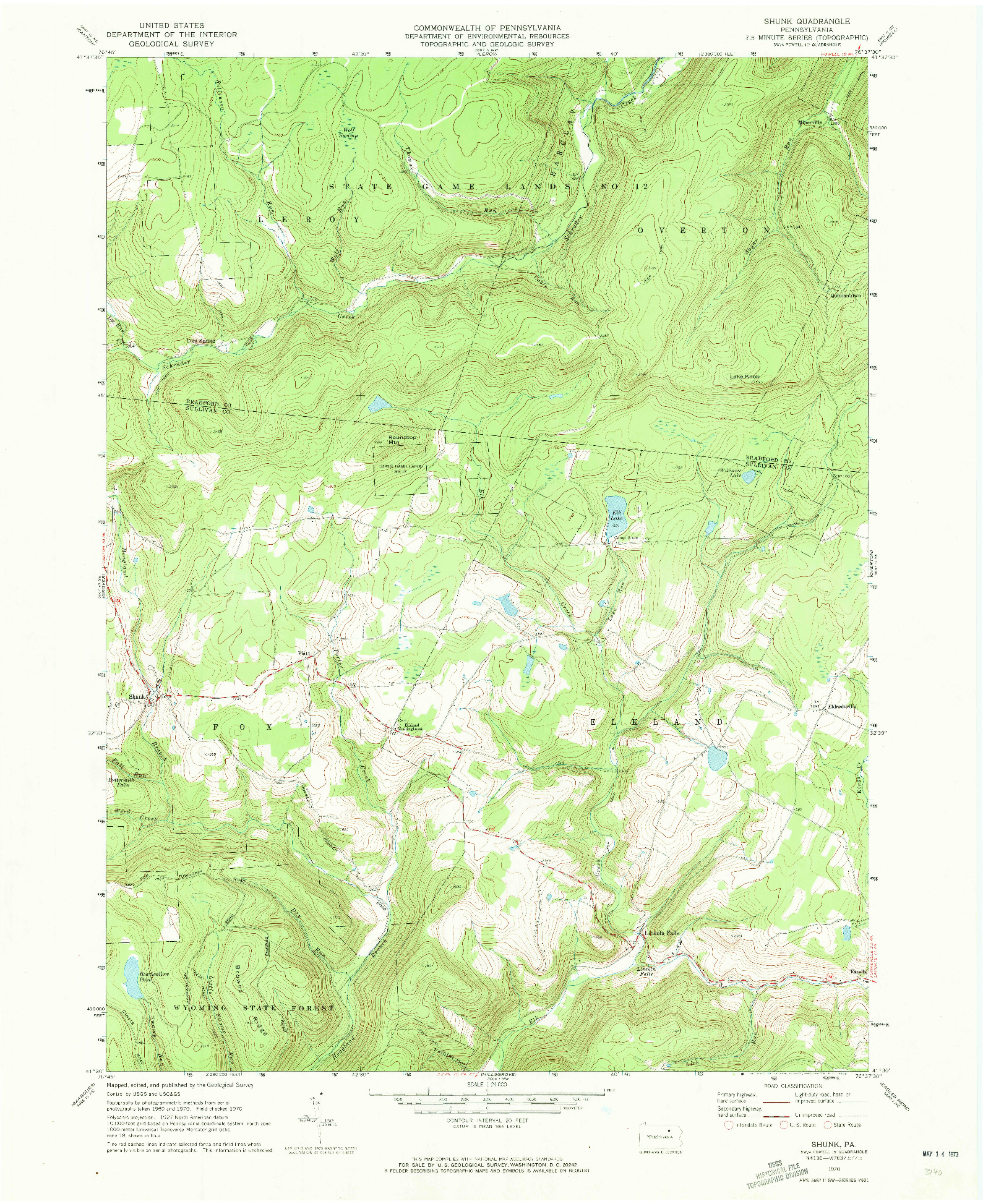 USGS 1:24000-SCALE QUADRANGLE FOR SHUNK, PA 1970