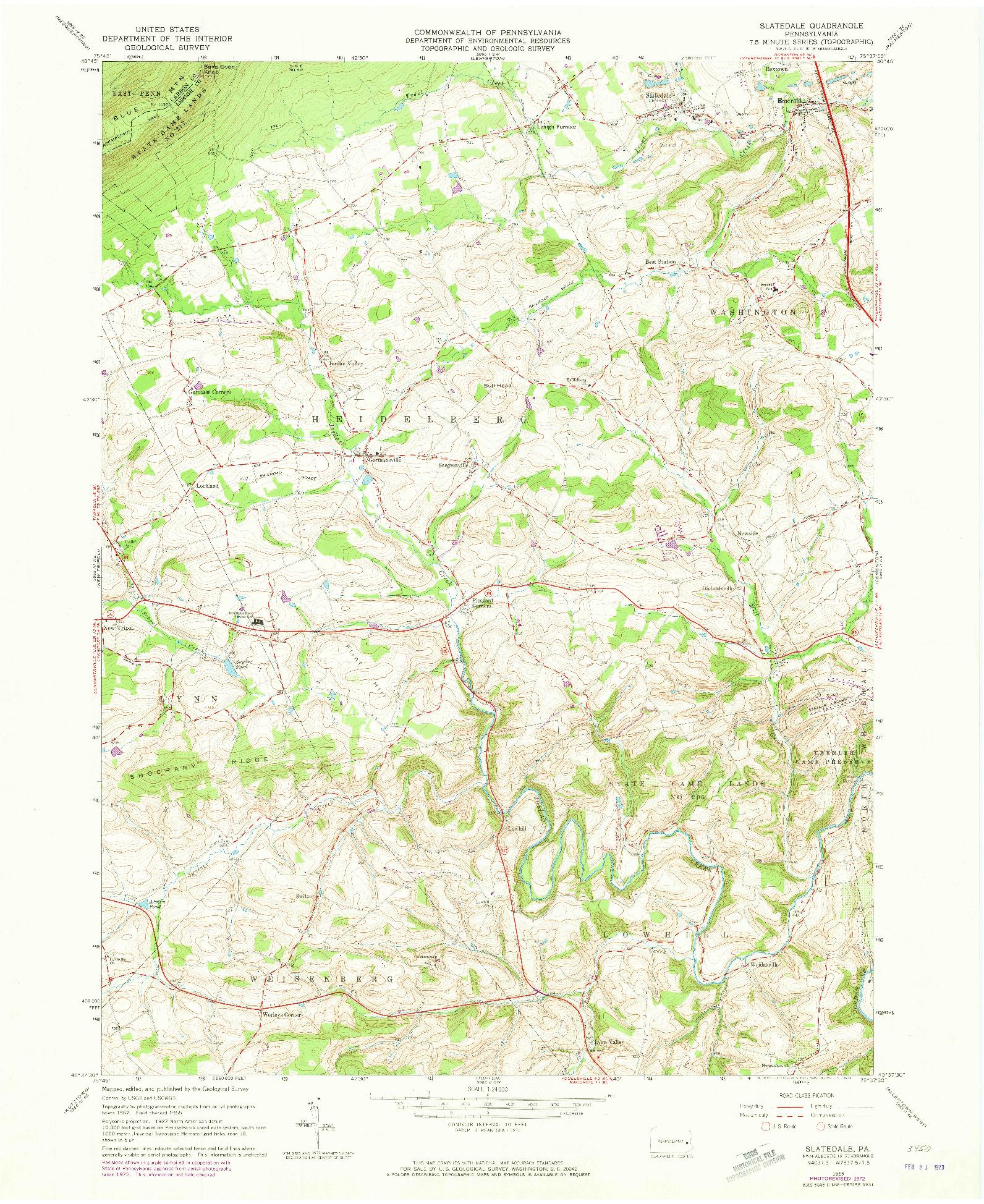 USGS 1:24000-SCALE QUADRANGLE FOR SLATEDALE, PA 1965