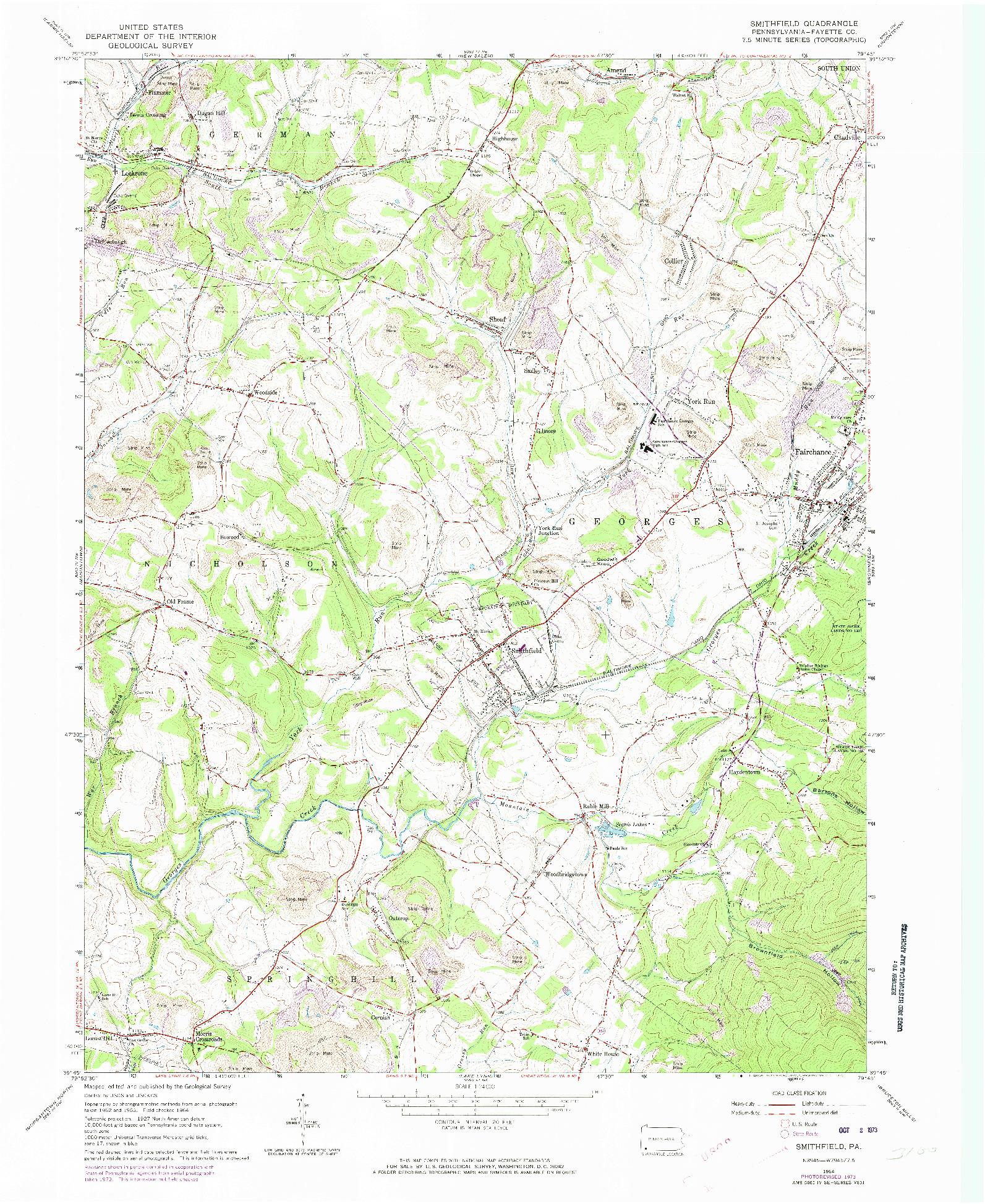USGS 1:24000-SCALE QUADRANGLE FOR SMITHFIELD, PA 1964