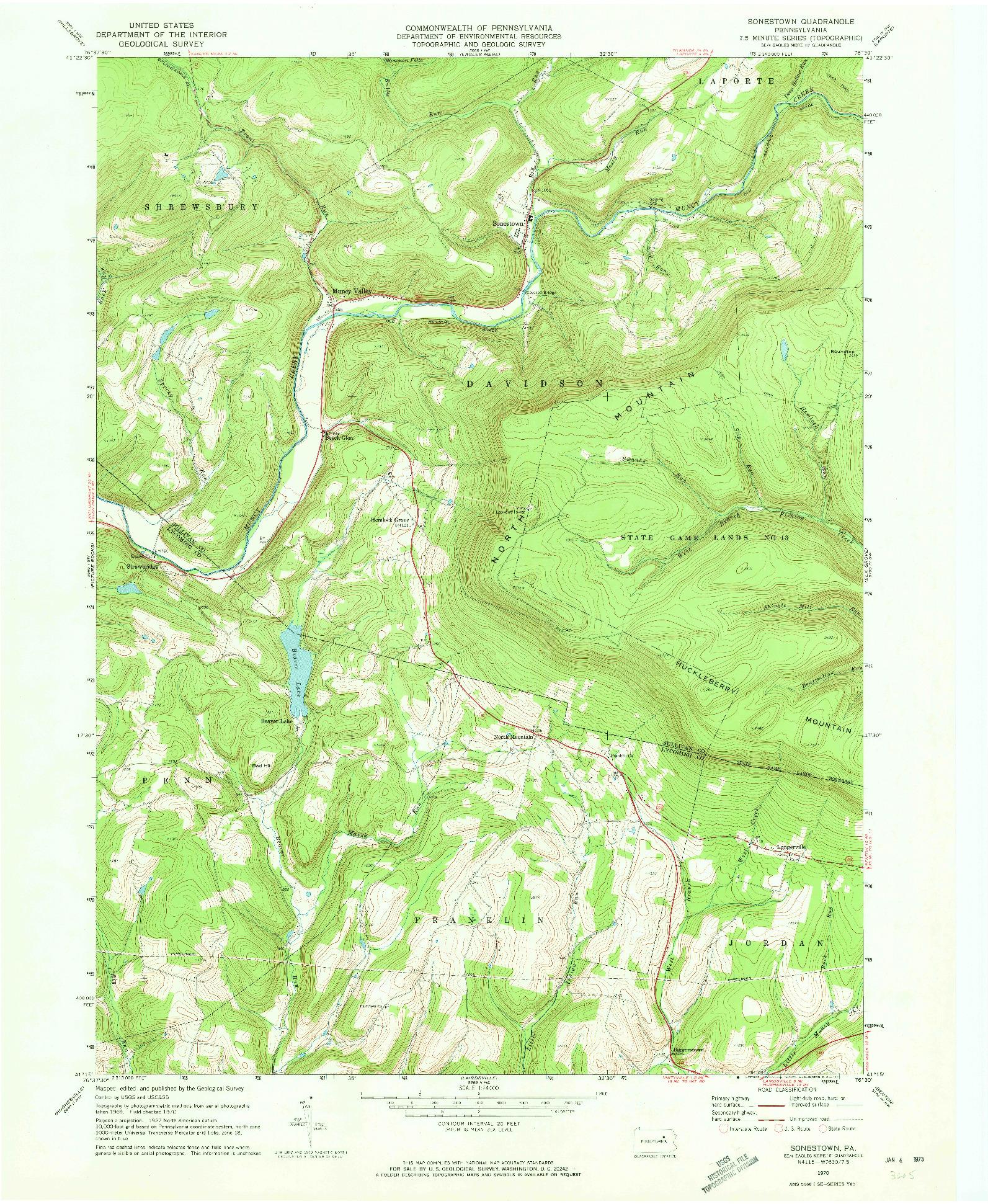USGS 1:24000-SCALE QUADRANGLE FOR SONESTOWN, PA 1970