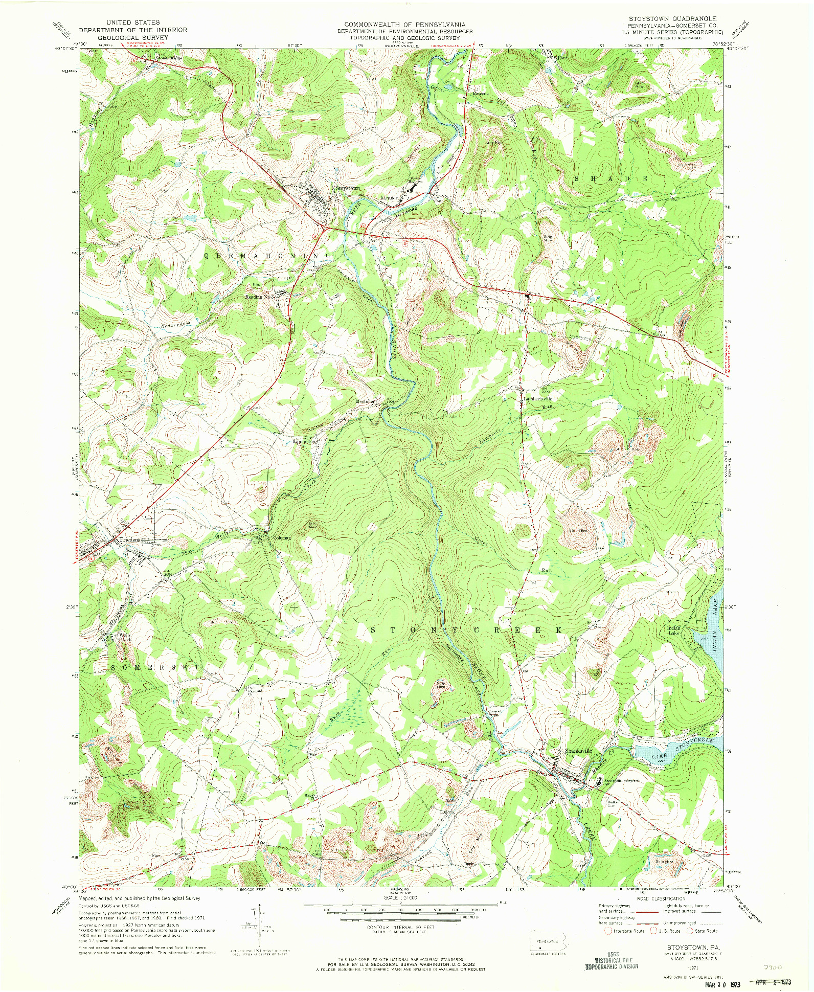 USGS 1:24000-SCALE QUADRANGLE FOR STOYSTOWN, PA 1971
