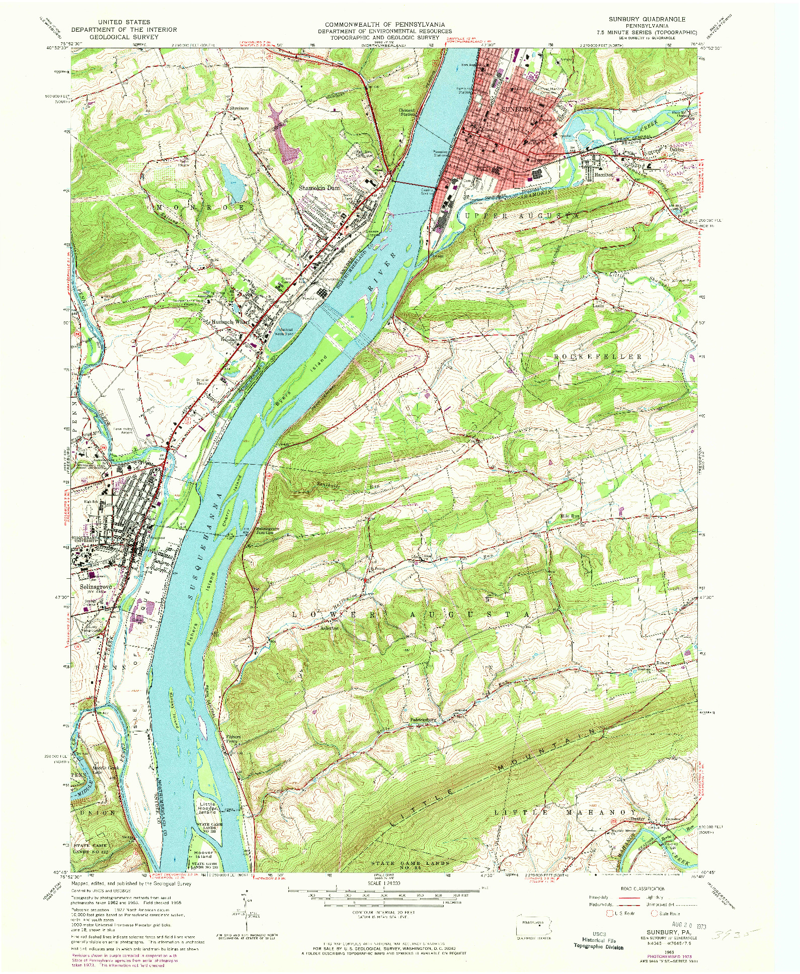 USGS 1:24000-SCALE QUADRANGLE FOR SUNBURY, PA 1965