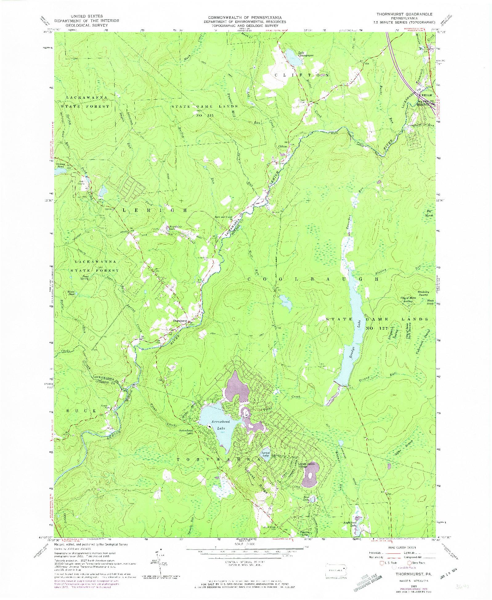 USGS 1:24000-SCALE QUADRANGLE FOR THORNHURST, PA 1965