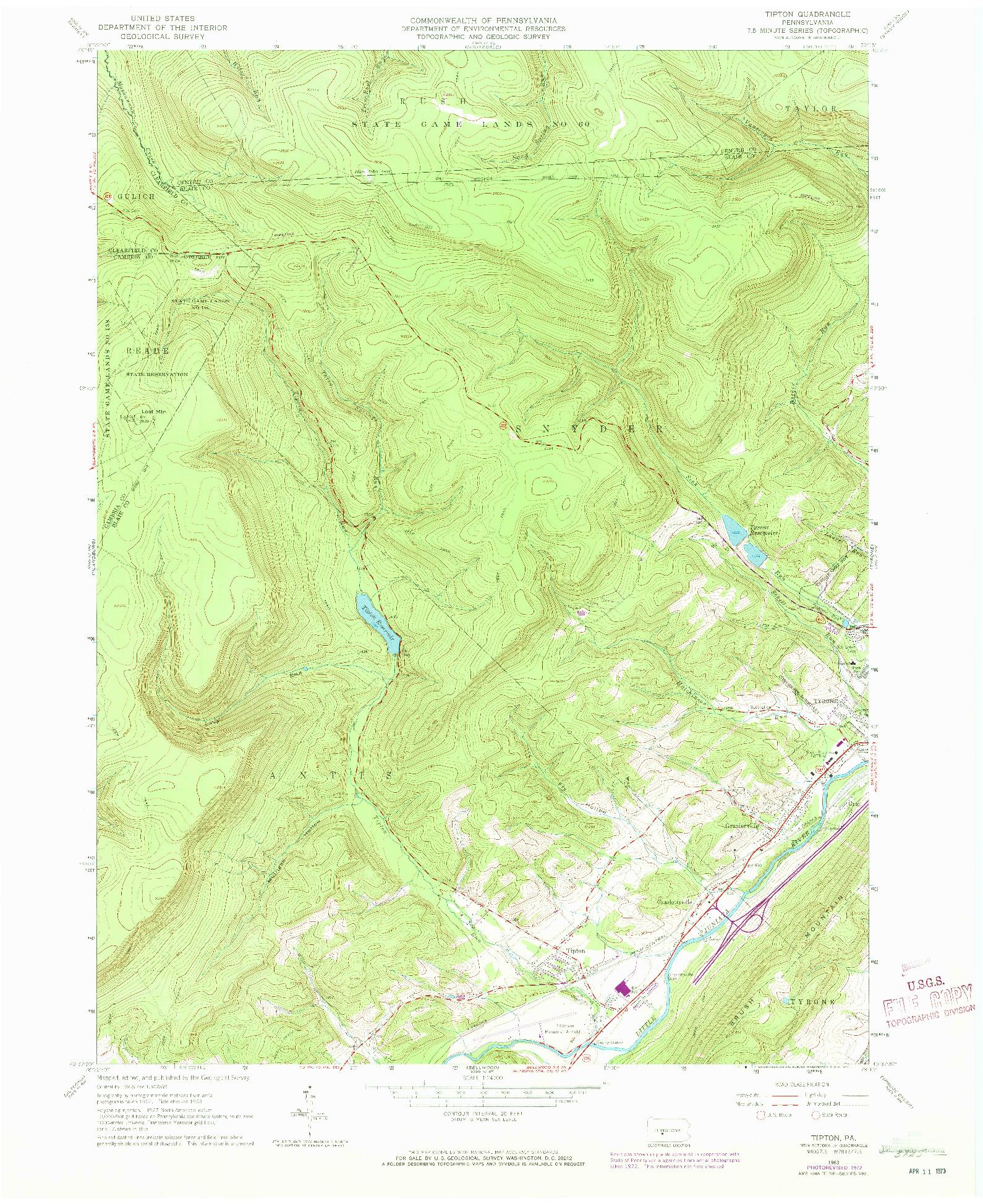 USGS 1:24000-SCALE QUADRANGLE FOR TIPTON, PA 1963