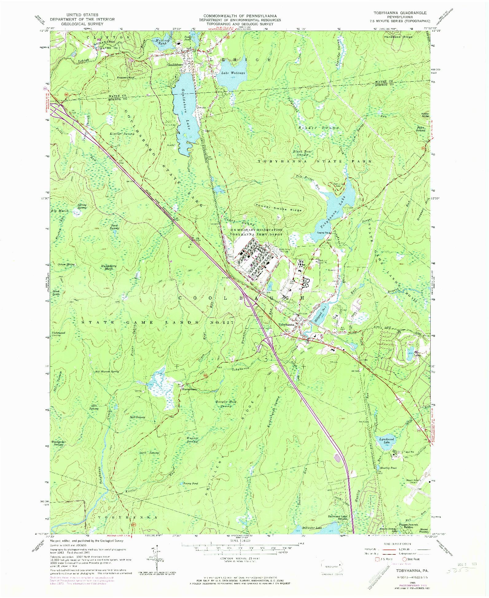USGS 1:24000-SCALE QUADRANGLE FOR TOBYHANNA, PA 1965
