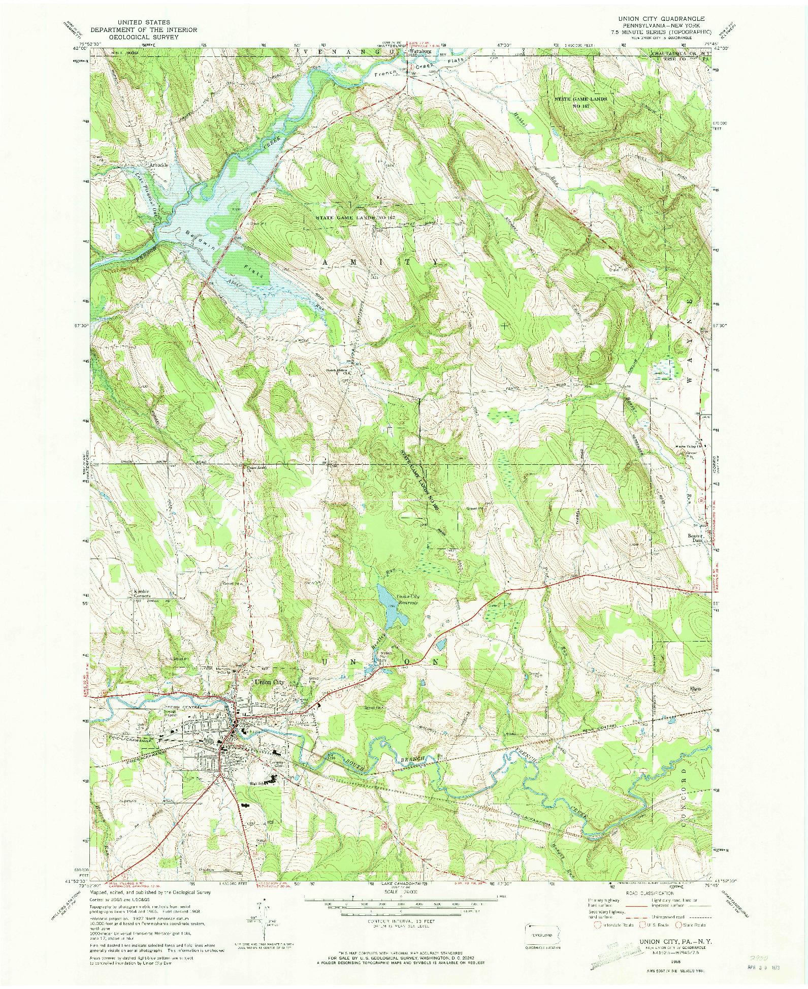 USGS 1:24000-SCALE QUADRANGLE FOR UNION CITY, PA 1968