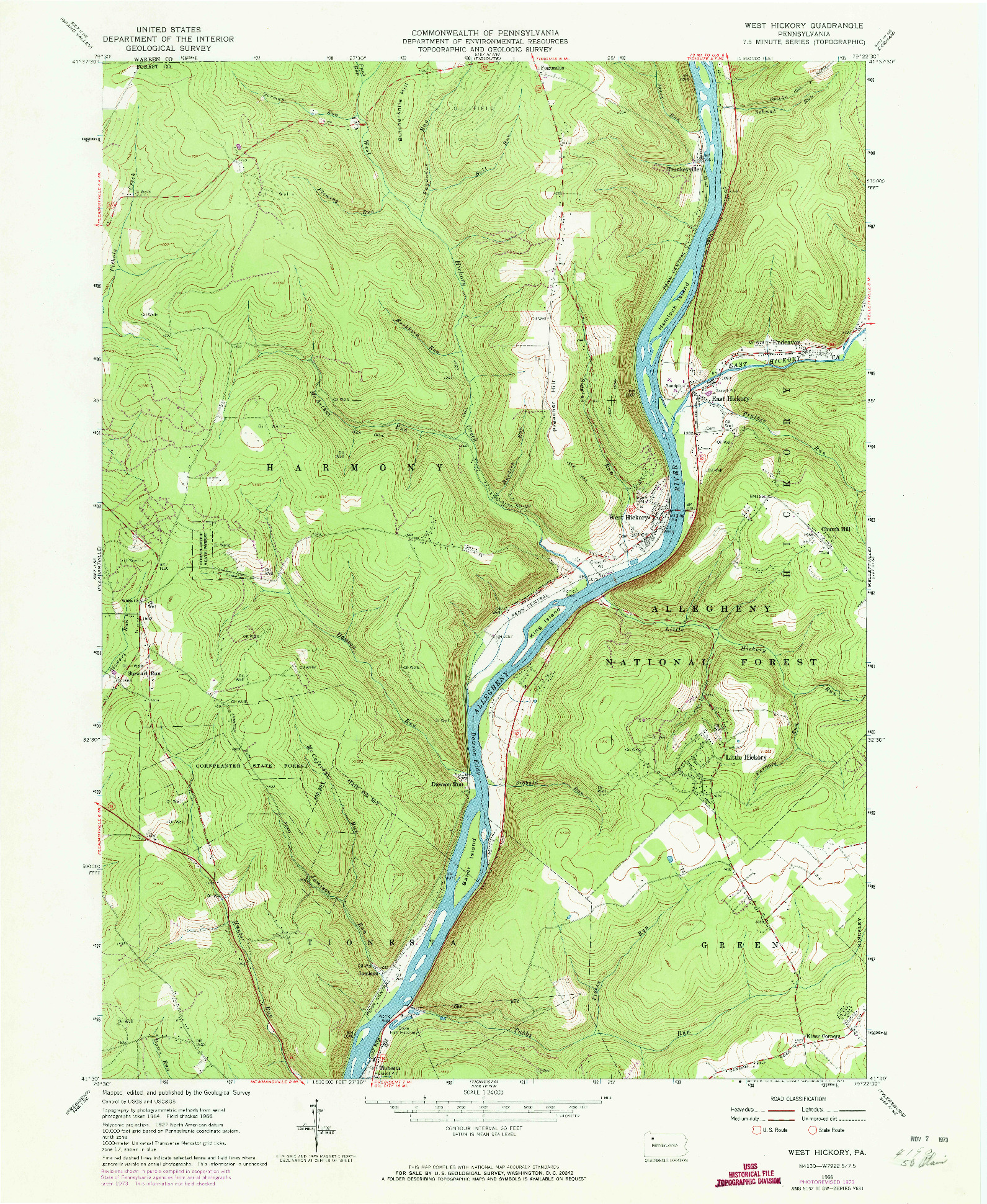 USGS 1:24000-SCALE QUADRANGLE FOR WEST HICKORY, PA 1966