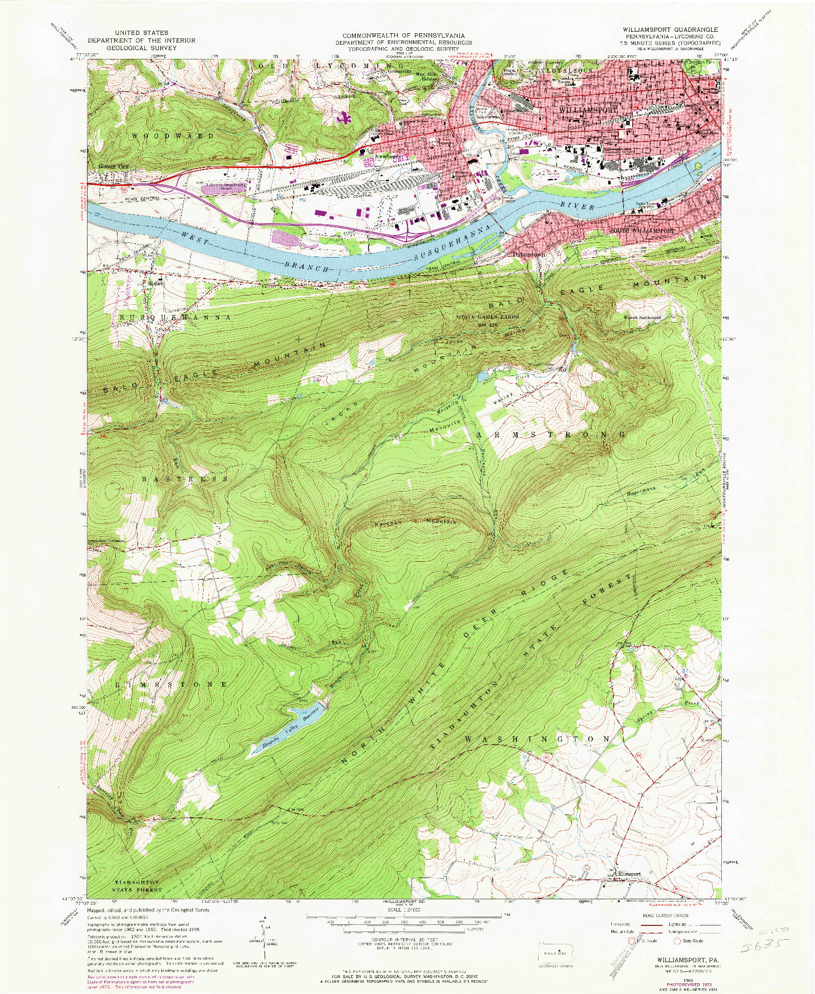 USGS 1:24000-SCALE QUADRANGLE FOR WILLIAMSPORT, PA 1965