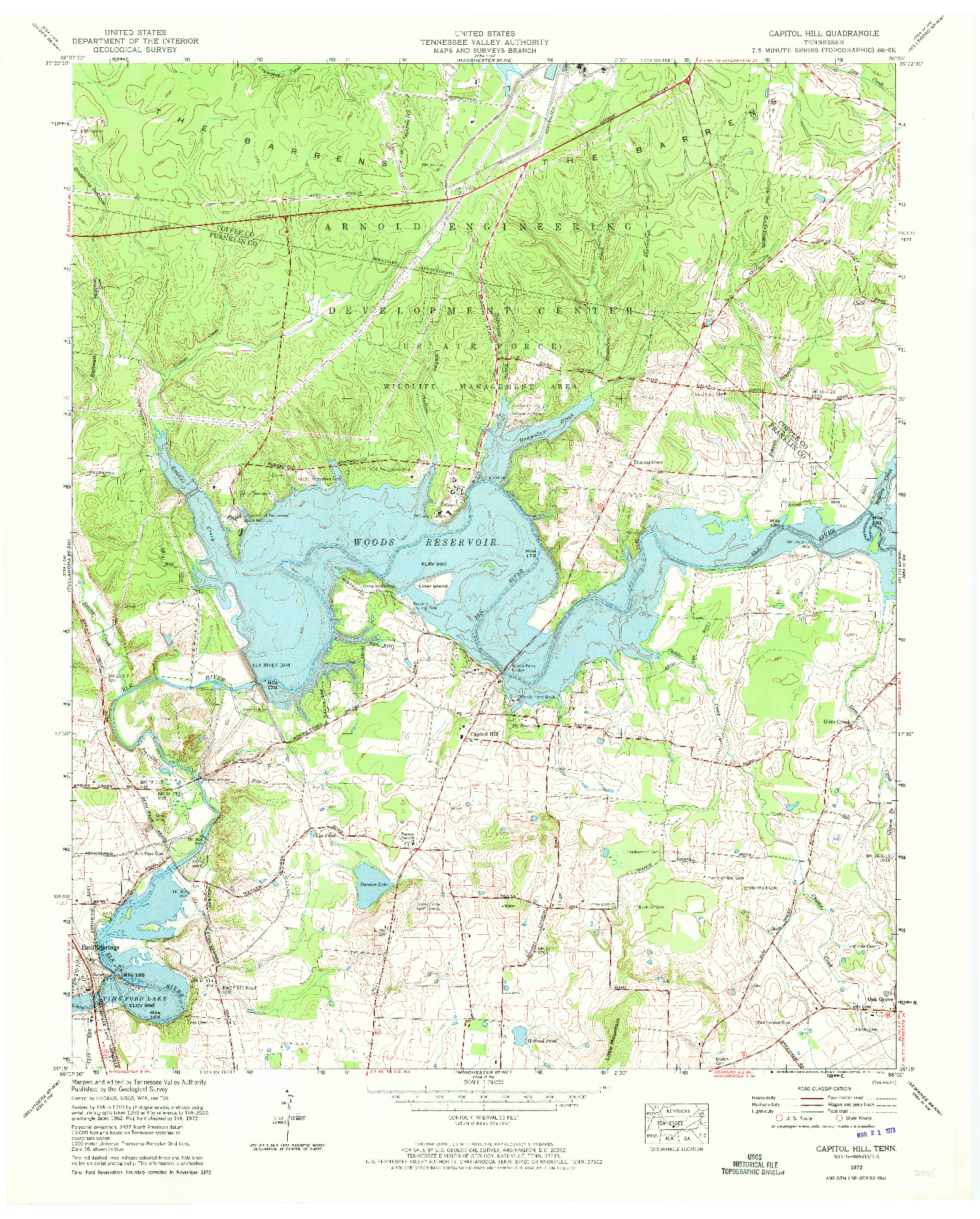 USGS 1:24000-SCALE QUADRANGLE FOR CAPITOL HILL, TN 1972