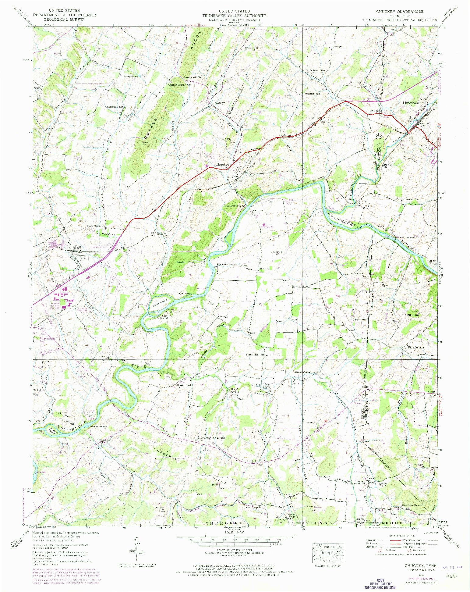 USGS 1:24000-SCALE QUADRANGLE FOR CHUCKEY, TN 1939