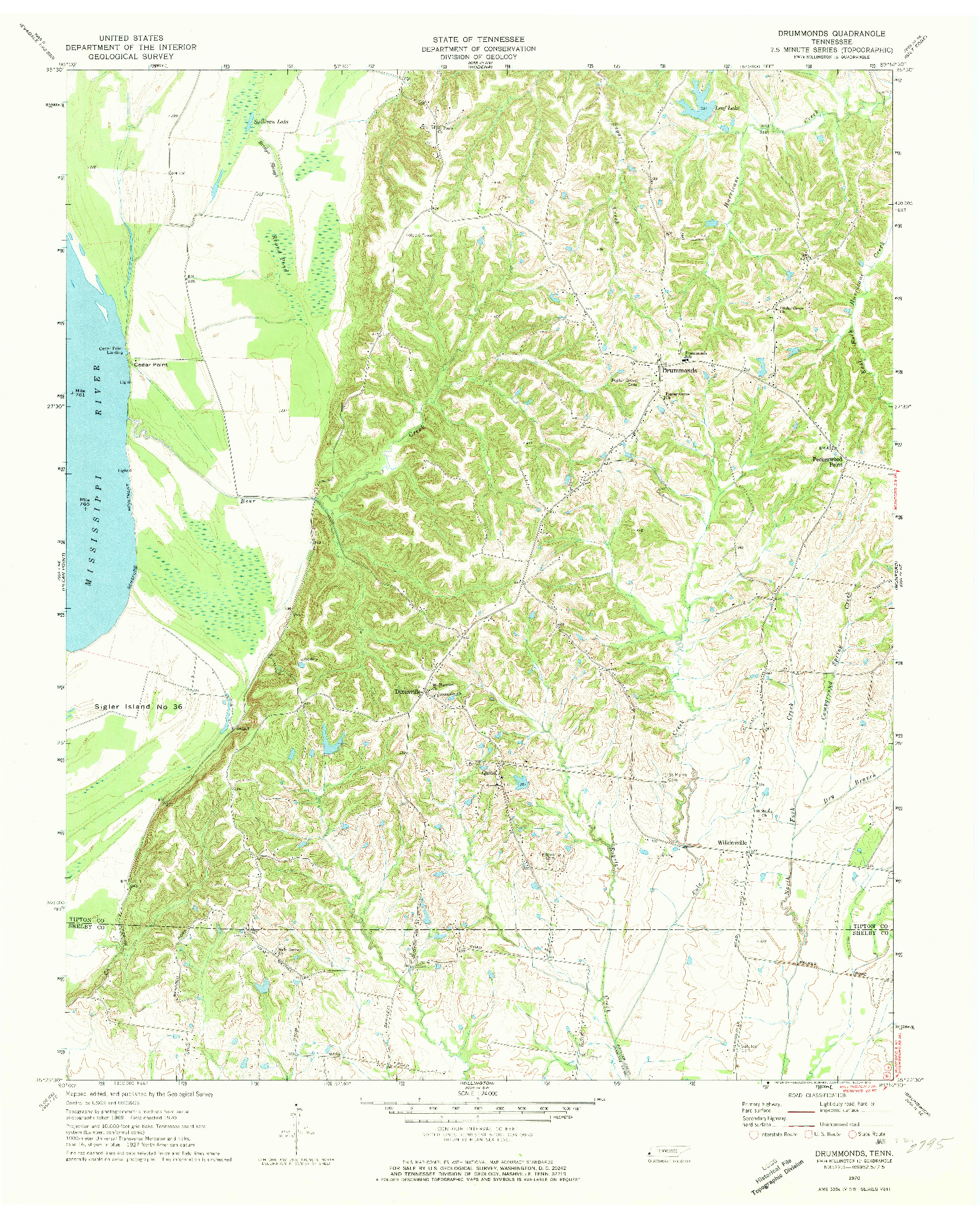 USGS 1:24000-SCALE QUADRANGLE FOR DRUMMONDS, TN 1970