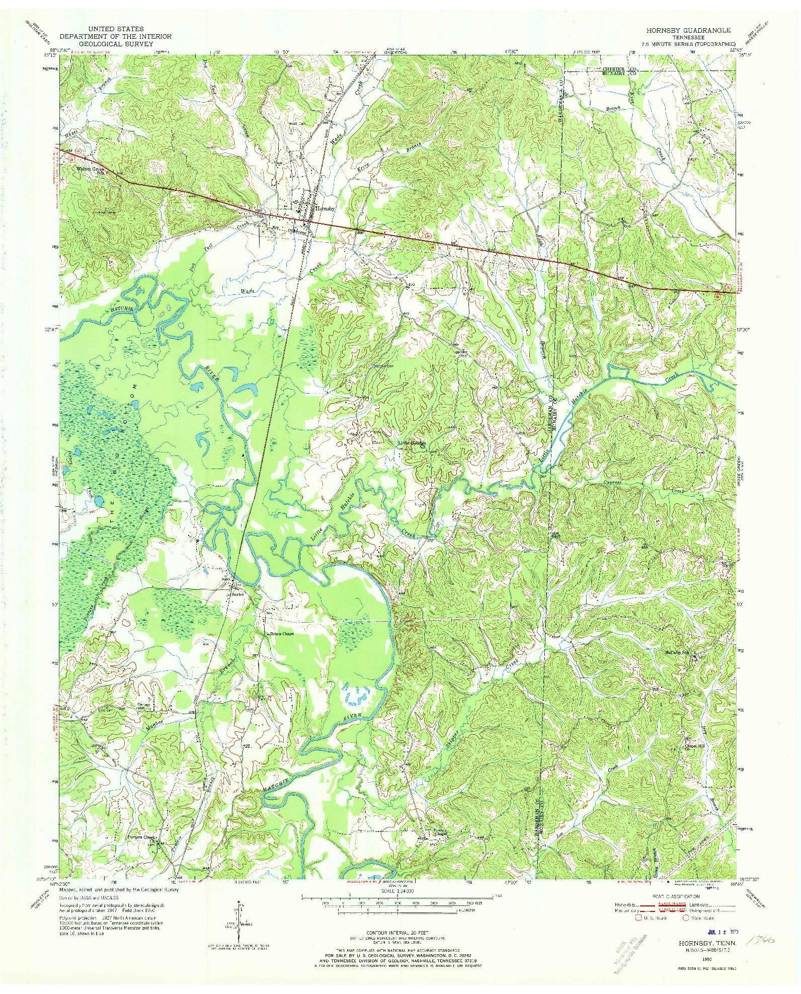 USGS 1:24000-SCALE QUADRANGLE FOR HORNSBY, TN 1950