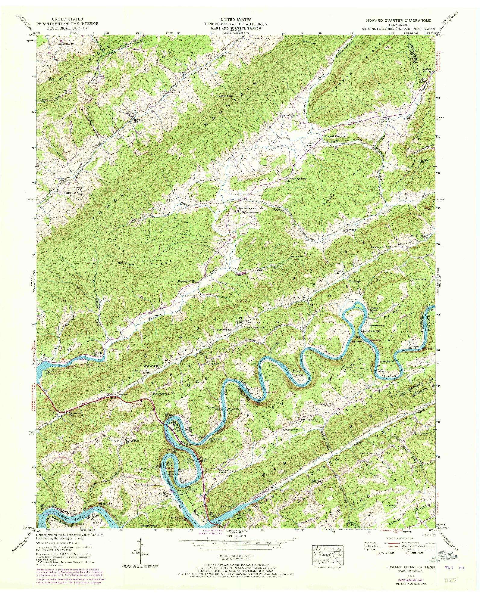 USGS 1:24000-SCALE QUADRANGLE FOR HOWARD QUARTER, TN 1942