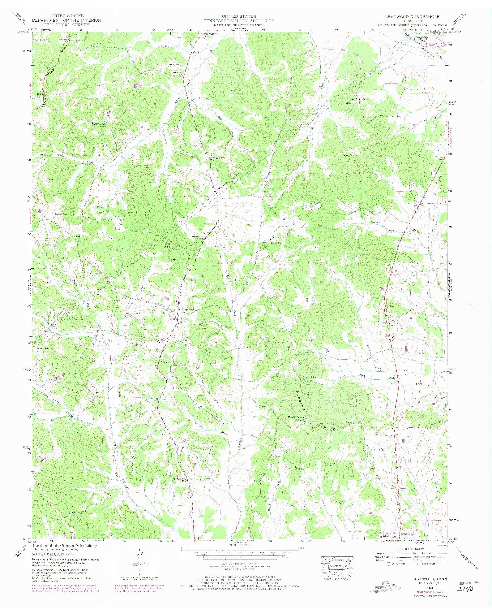 USGS 1:24000-SCALE QUADRANGLE FOR LEAPWOOD, TN 1949