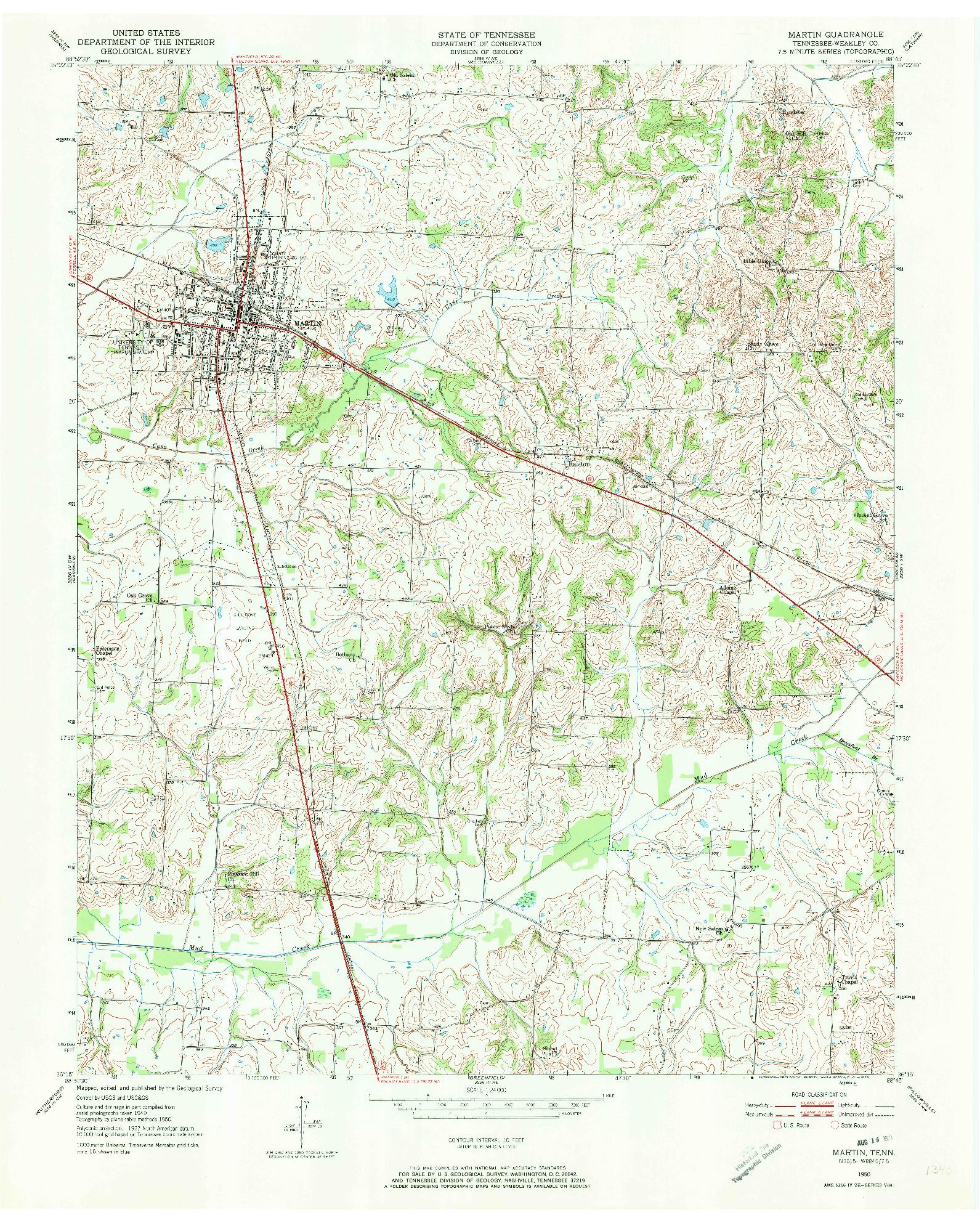 USGS 1:24000-SCALE QUADRANGLE FOR MARTIN, TN 1950