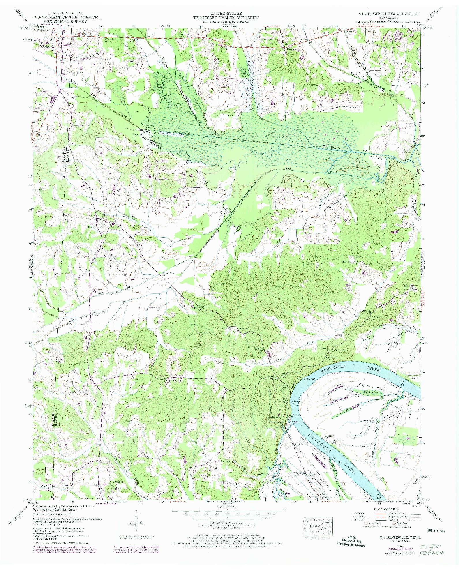 USGS 1:24000-SCALE QUADRANGLE FOR MILLEDGEVILLE, TN 1949