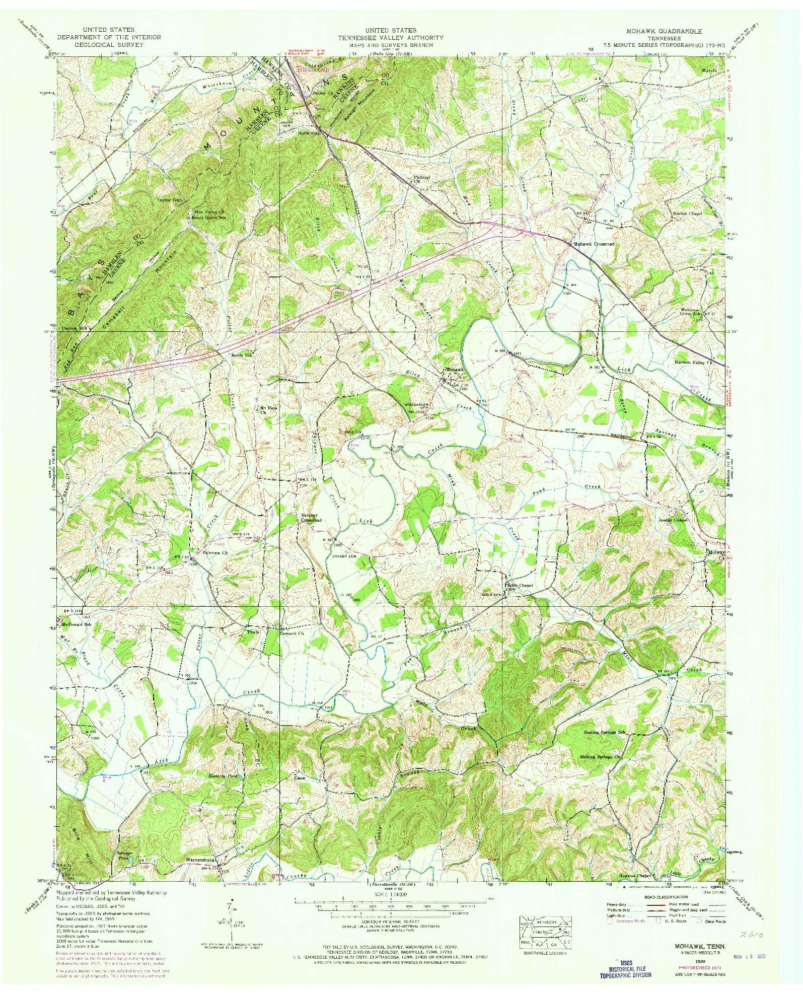 USGS 1:24000-SCALE QUADRANGLE FOR MOHAWK, TN 1939