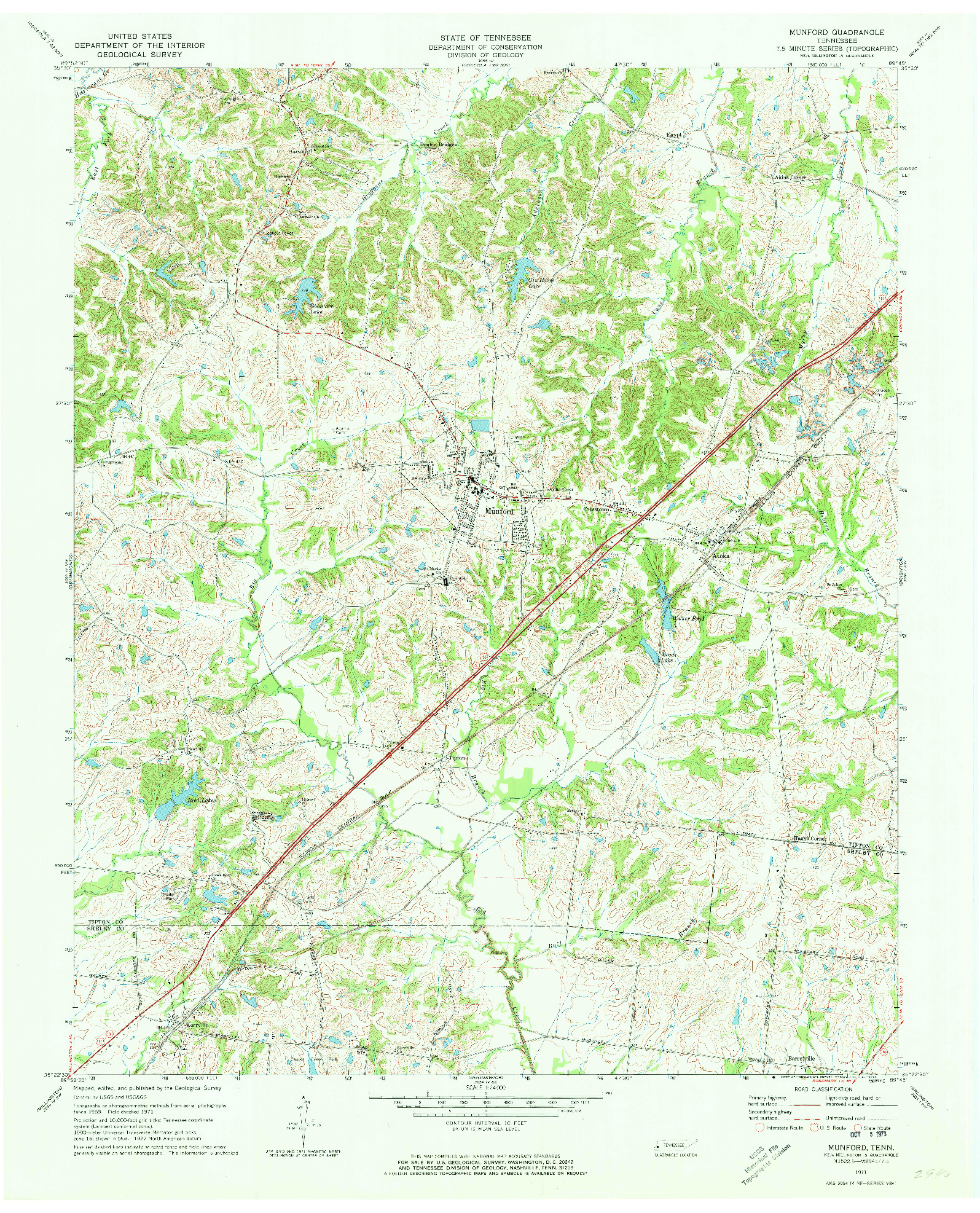 USGS 1:24000-SCALE QUADRANGLE FOR MUNFORD, TN 1971