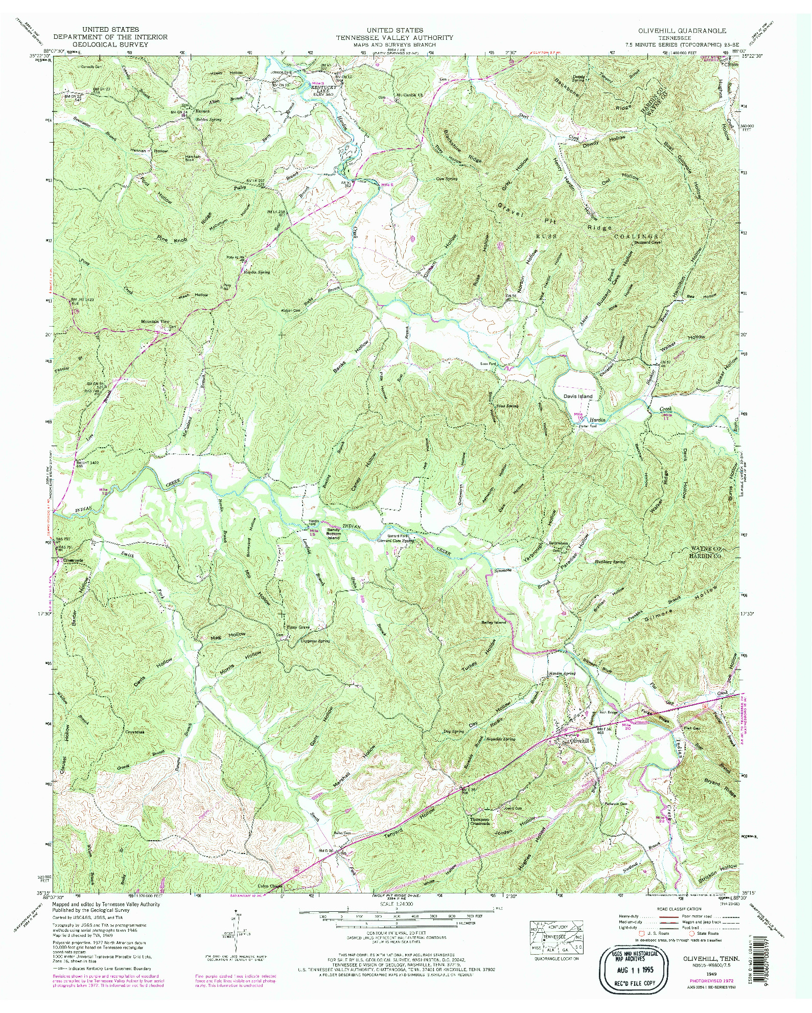 USGS 1:24000-SCALE QUADRANGLE FOR OLIVEHILL, TN 1949