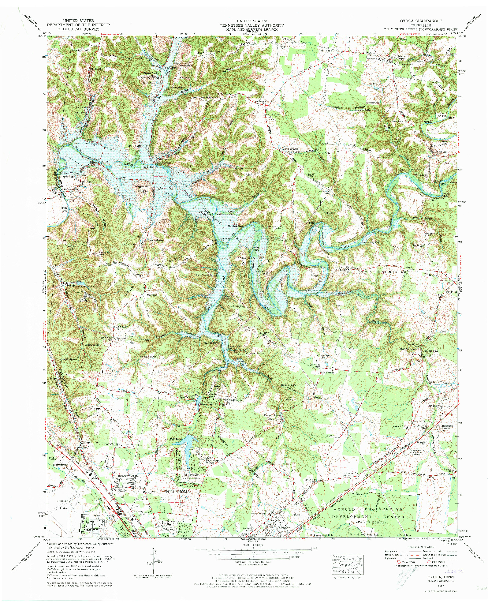 USGS 1:24000-SCALE QUADRANGLE FOR OVOCA, TN 1972