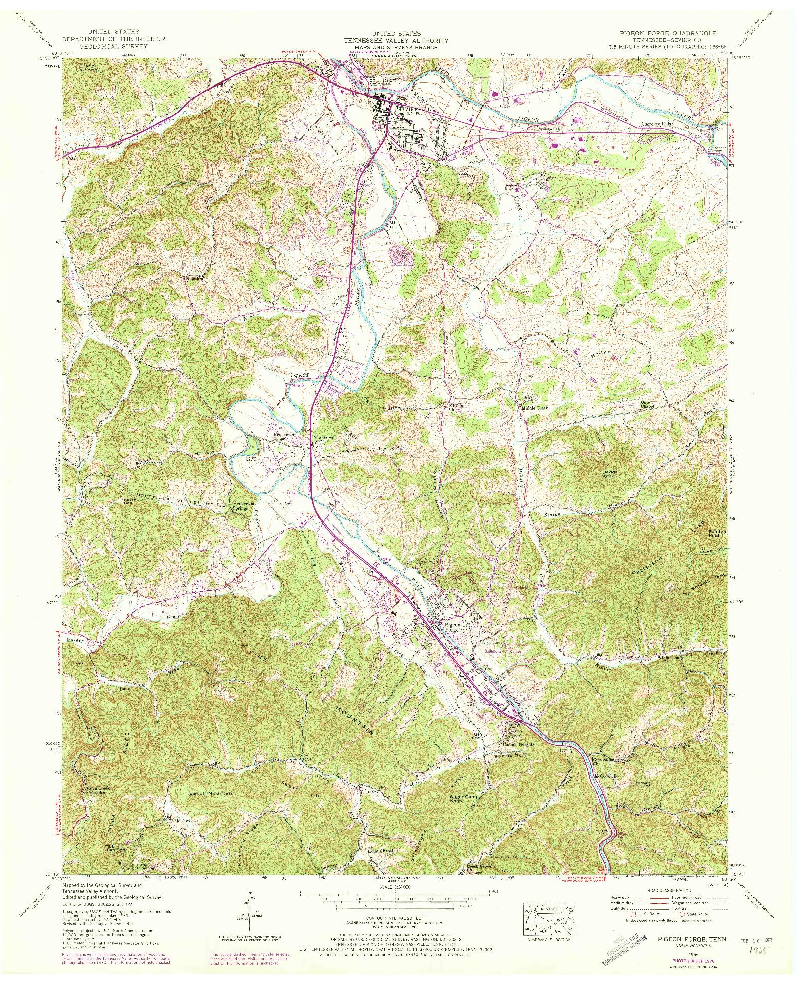 USGS 1:24000-SCALE QUADRANGLE FOR PIGEON FORGE, TN 1956