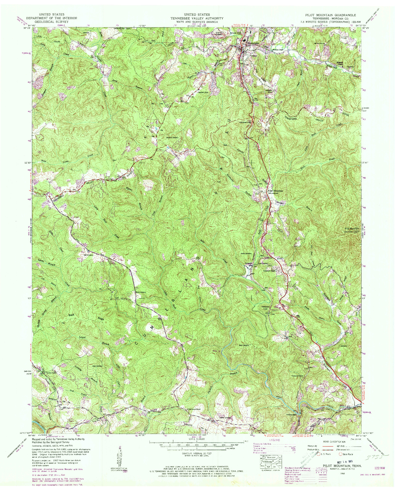 USGS 1:24000-SCALE QUADRANGLE FOR PILOT MOUNTAIN, TN 1952
