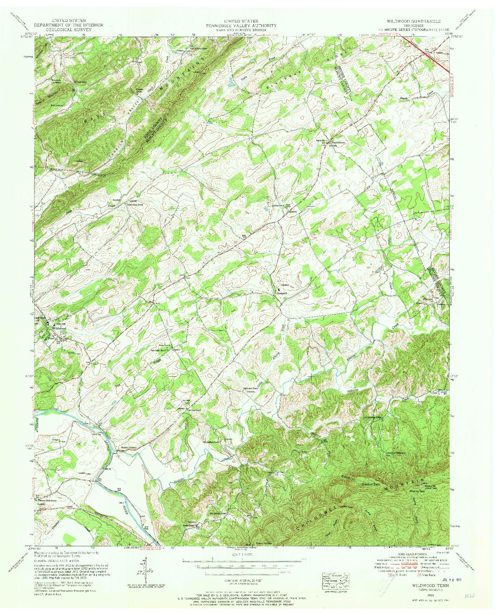 USGS 1:24000-SCALE QUADRANGLE FOR WILDWOOD, TN 1953