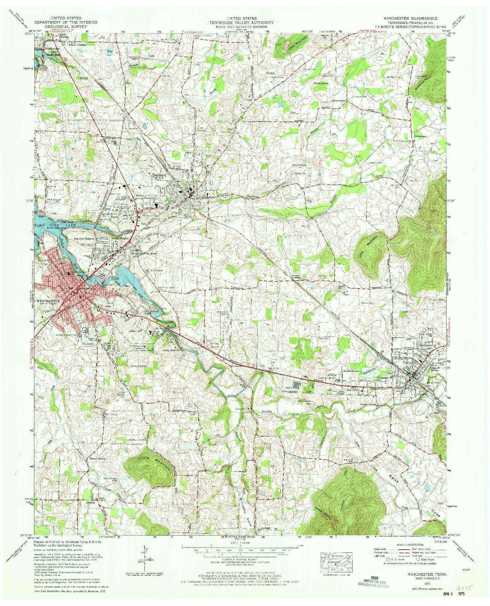 USGS 1:24000-SCALE QUADRANGLE FOR WINCHESTER, TN 1971