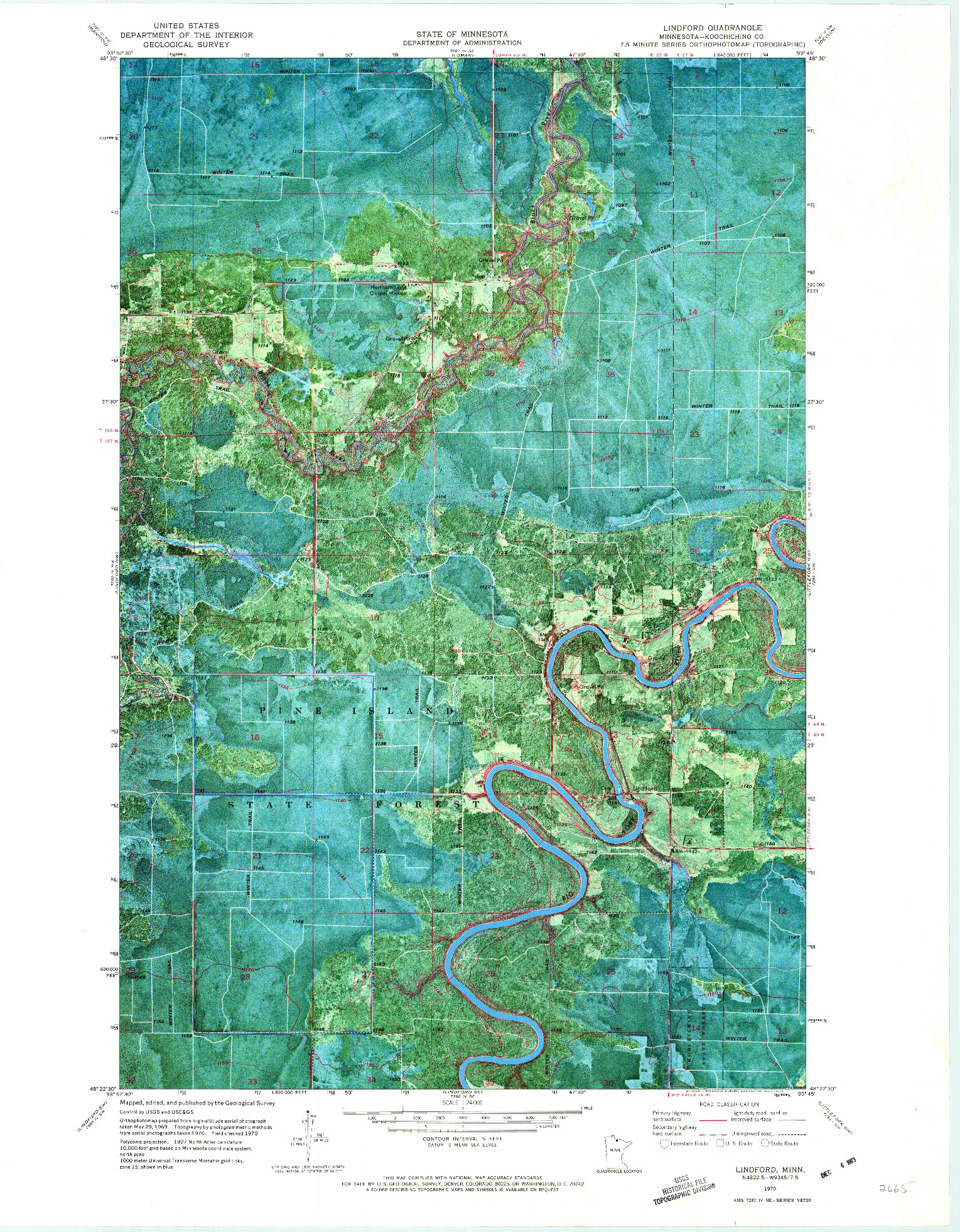 USGS 1:24000-SCALE QUADRANGLE FOR LINDFORD, MN 1970
