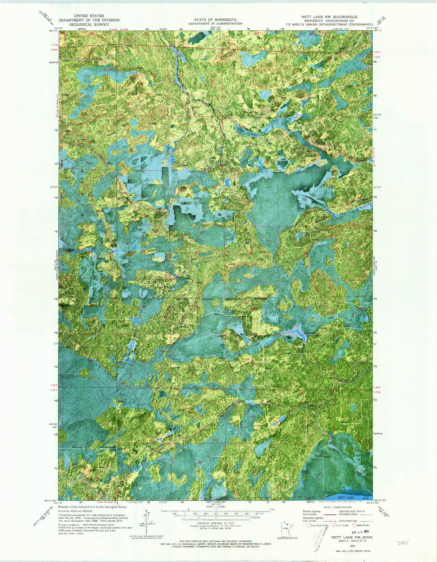 USGS 1:24000-SCALE QUADRANGLE FOR NETT LAKE NW, MN 1970