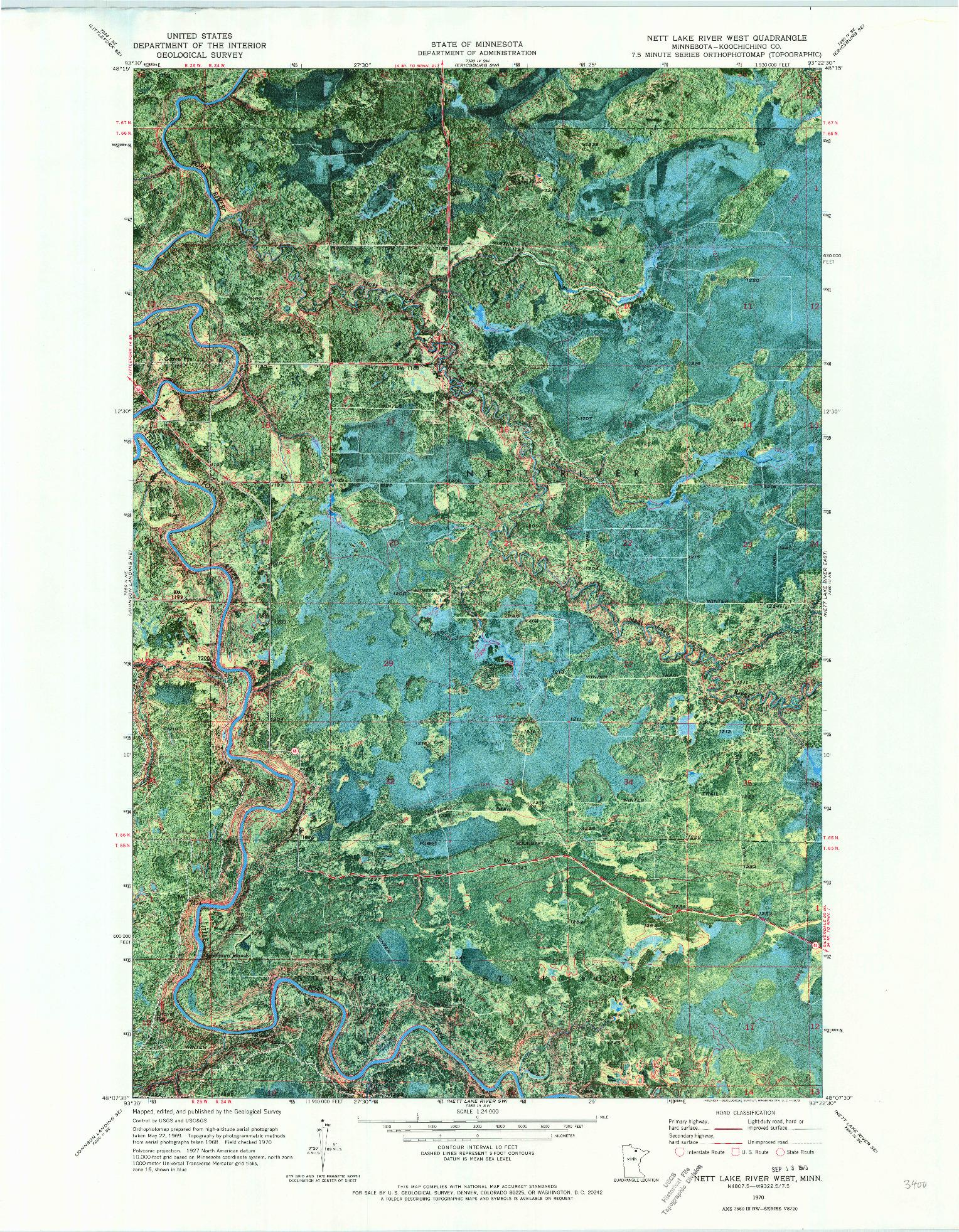 USGS 1:24000-SCALE QUADRANGLE FOR NETT LAKE RIVER WEST, MN 1970