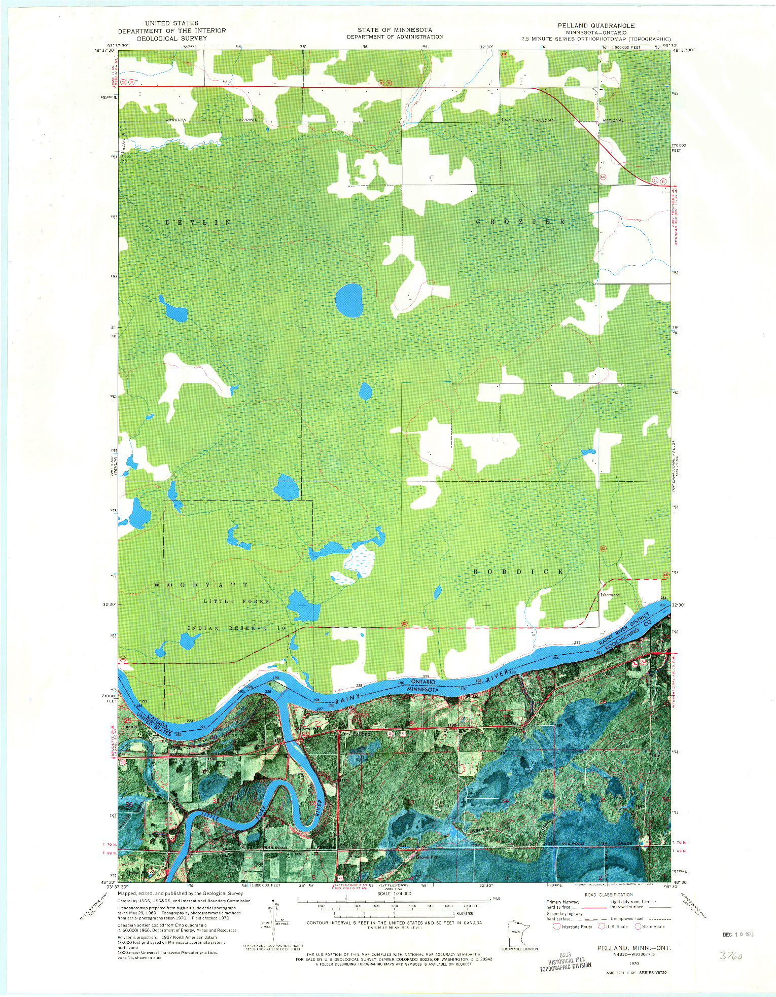 USGS 1:24000-SCALE QUADRANGLE FOR PELLAND, MN 1970