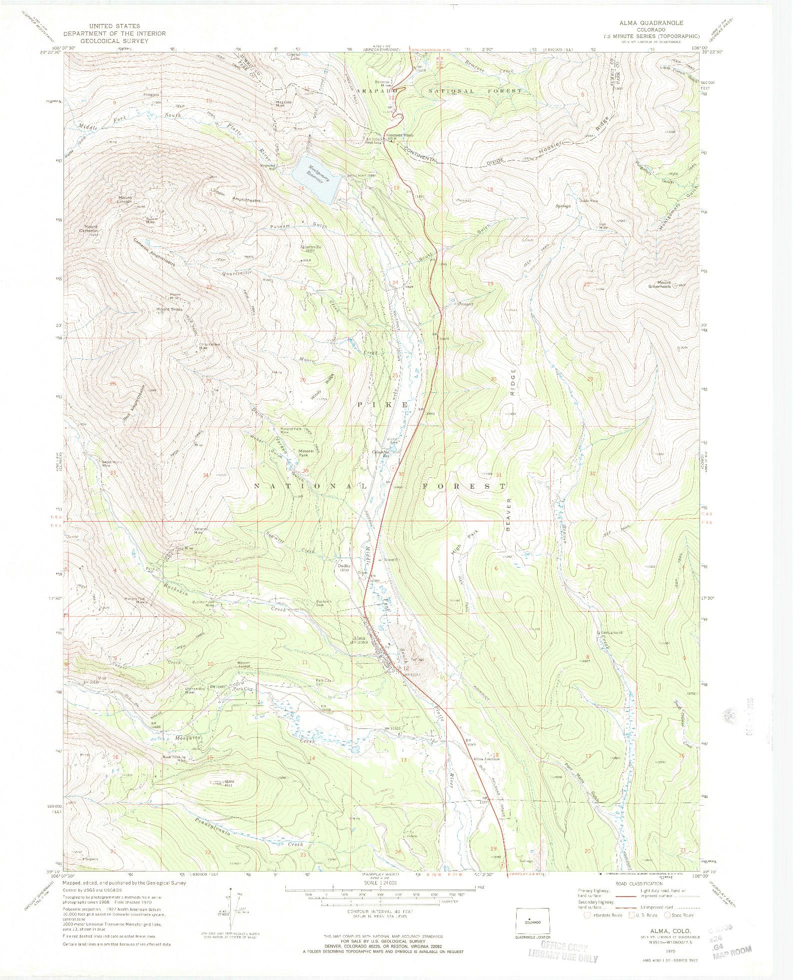 USGS 1:24000-SCALE QUADRANGLE FOR ALMA, CO 1970