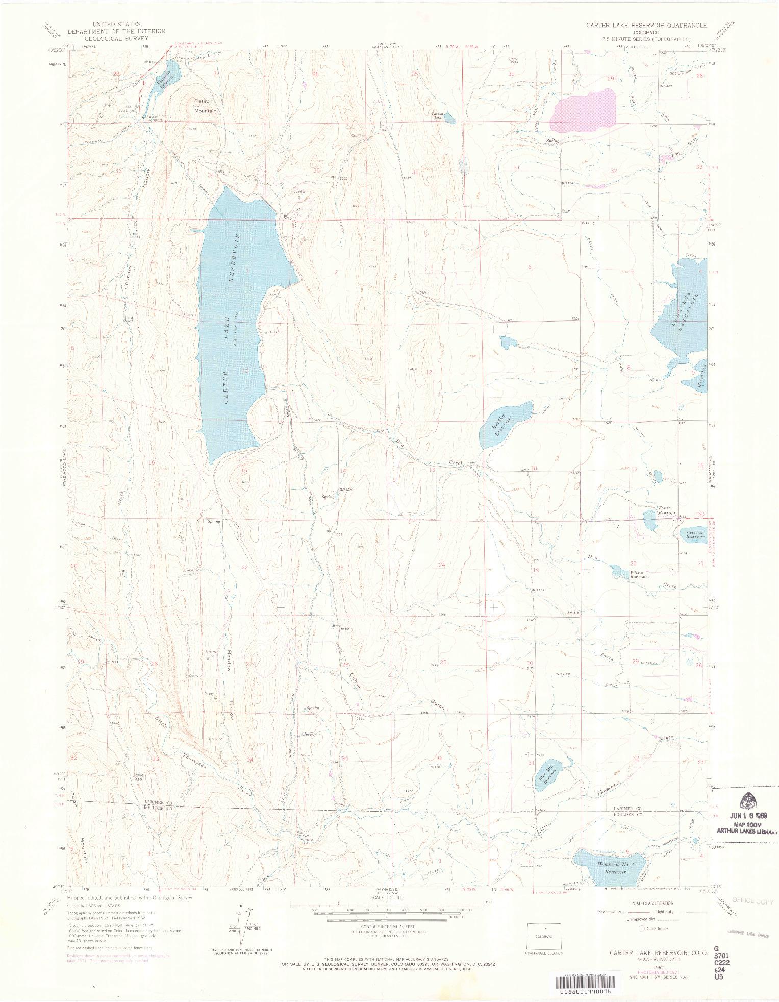 USGS 1:24000-SCALE QUADRANGLE FOR CARTER LAKE RESERVOIR, CO 1962