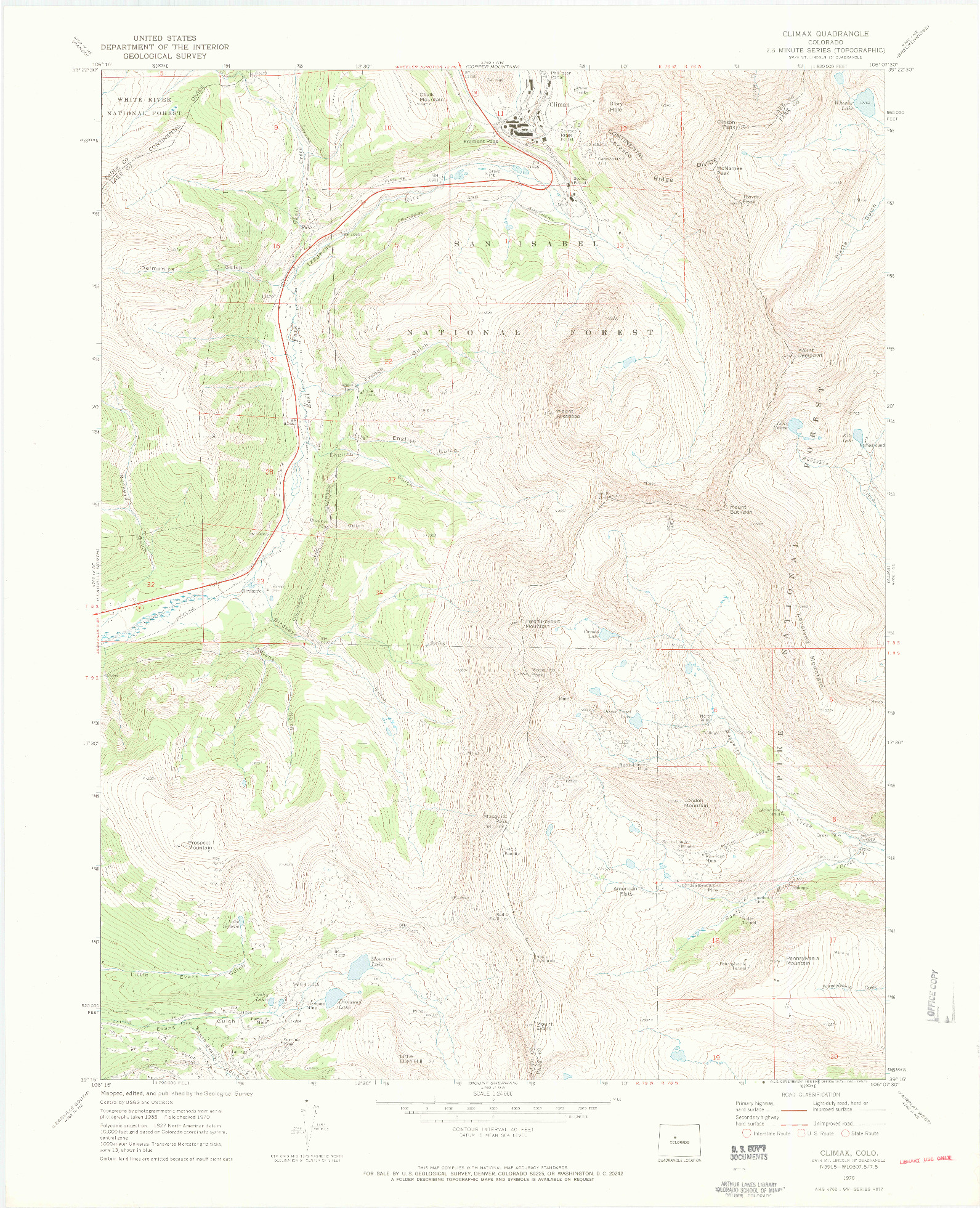 USGS 1:24000-SCALE QUADRANGLE FOR CLIMAX, CO 1970