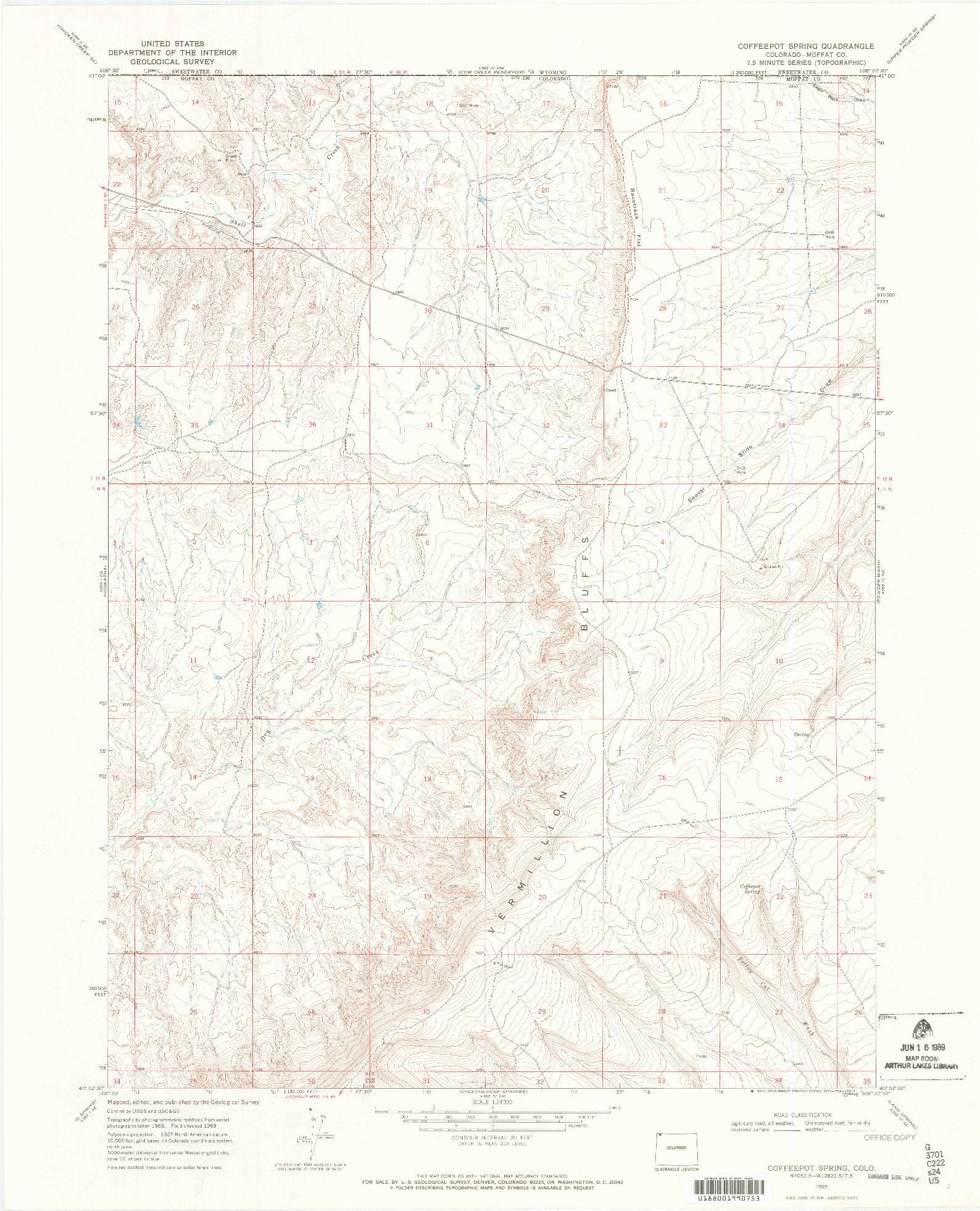 USGS 1:24000-SCALE QUADRANGLE FOR COFFEEPOT SPRING, CO 1969