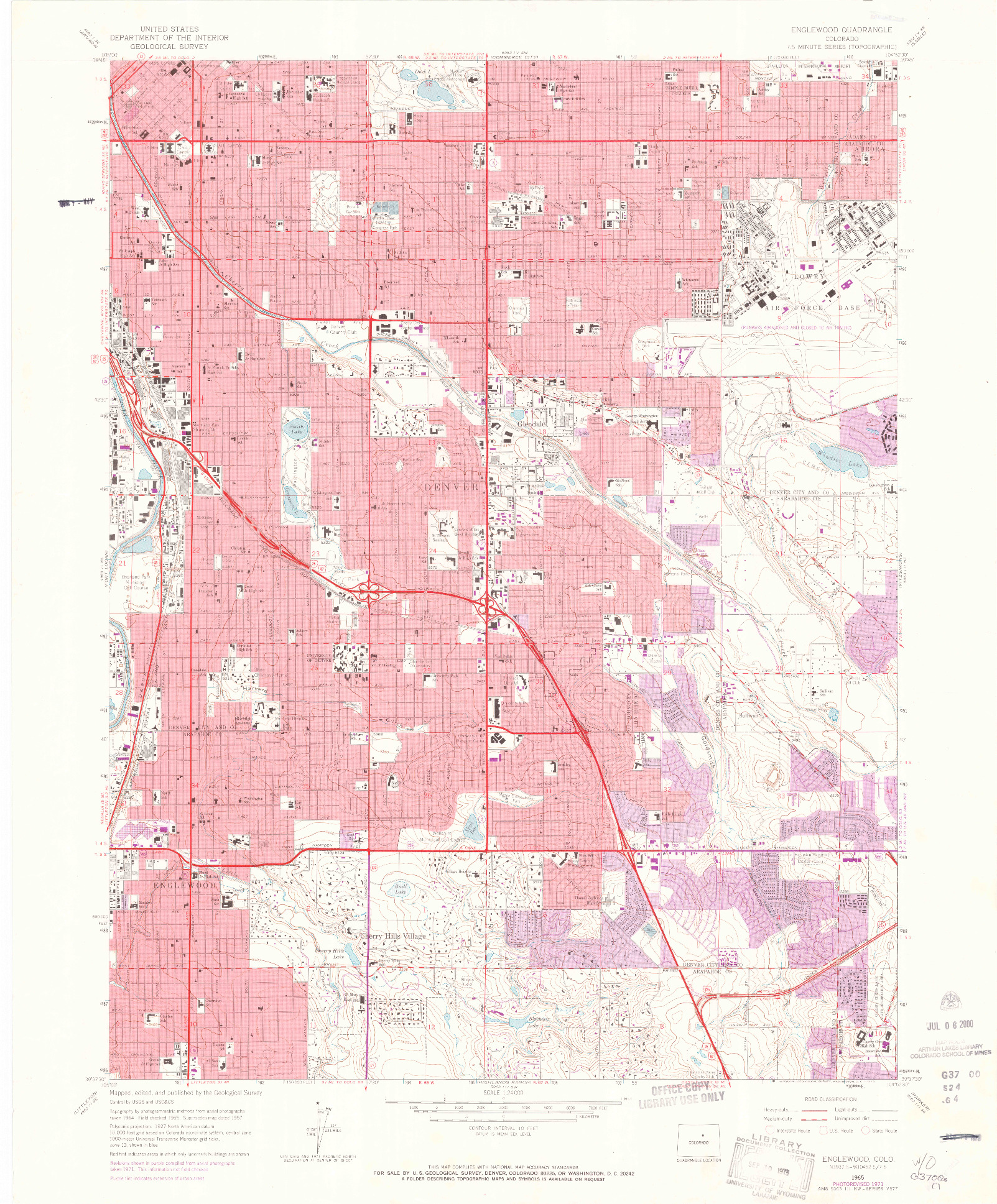 USGS 1:24000-SCALE QUADRANGLE FOR ENGLEWOOD, CO 1965