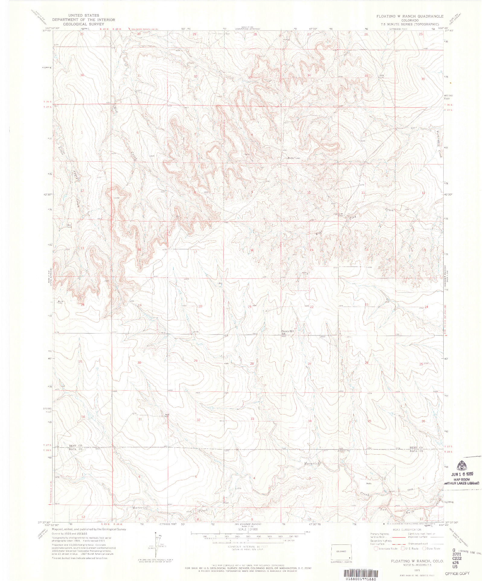 USGS 1:24000-SCALE QUADRANGLE FOR FLOATING W RANCH, CO 1971