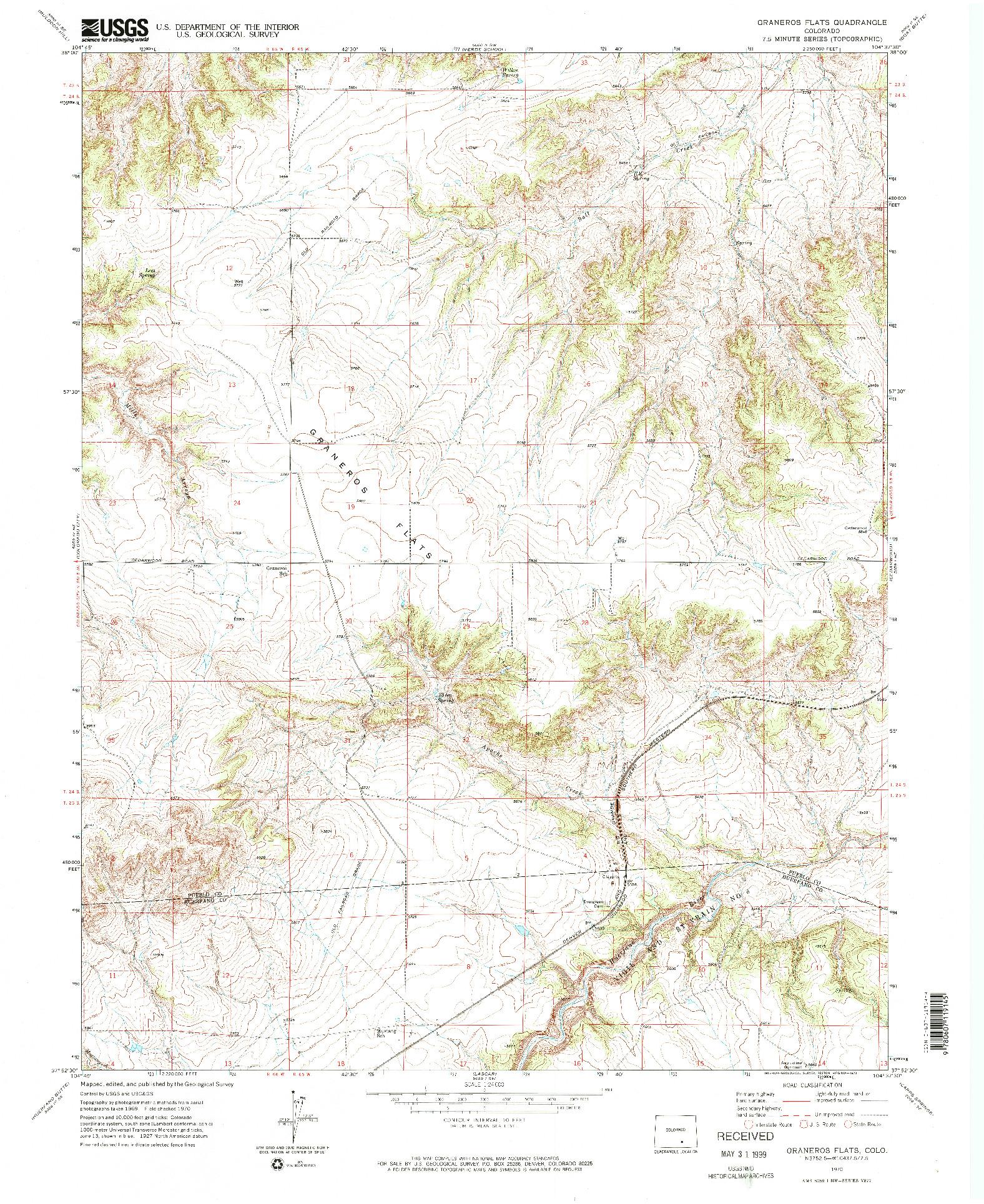 USGS 1:24000-SCALE QUADRANGLE FOR GRANEROS FLATS, CO 1970