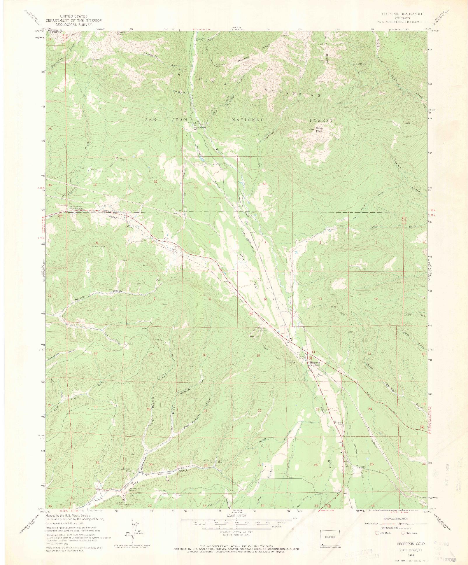 USGS 1:24000-SCALE QUADRANGLE FOR HESPERUS, CO 1963