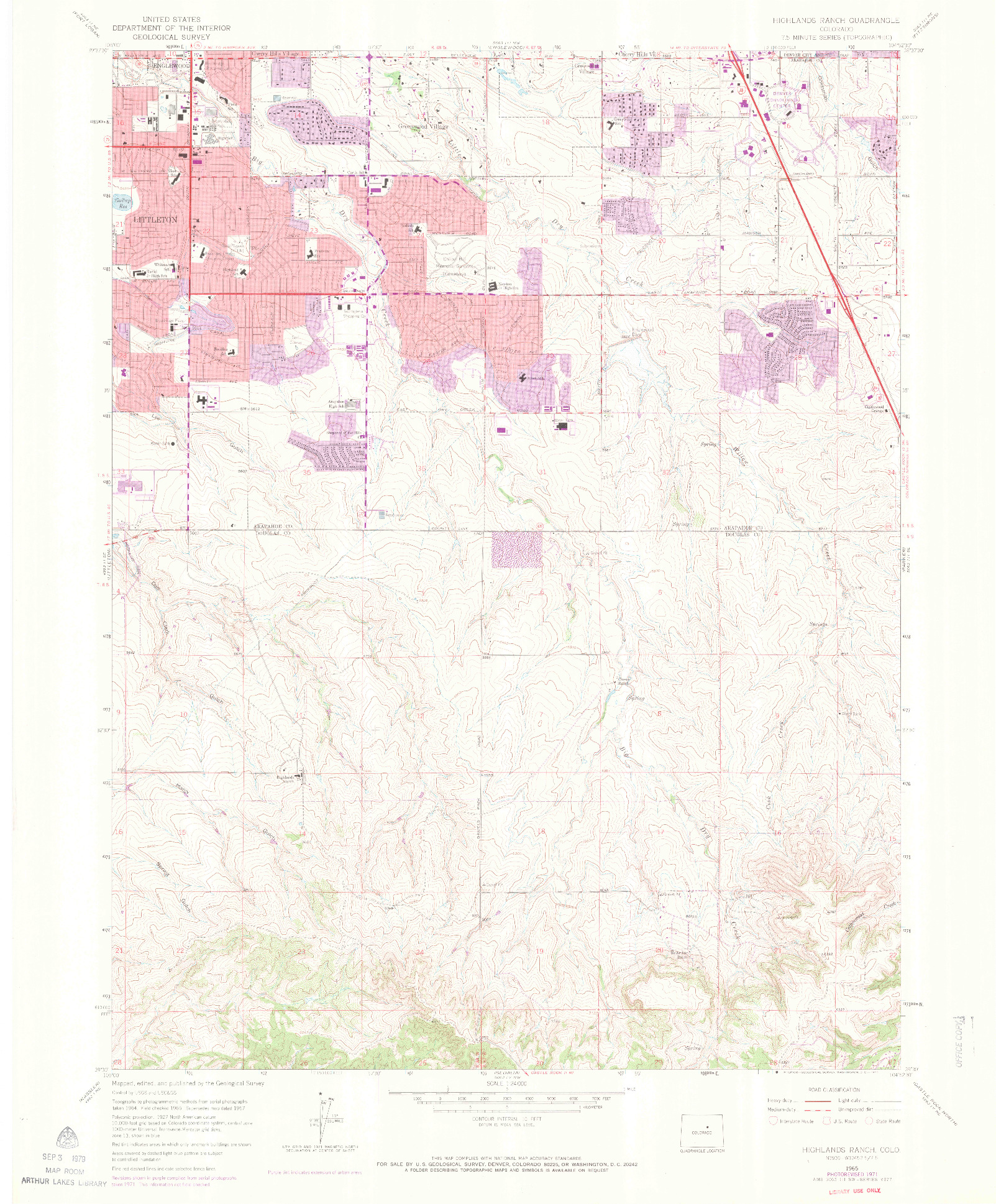 USGS 1:24000-SCALE QUADRANGLE FOR HIGHLANDS RANCH, CO 1965